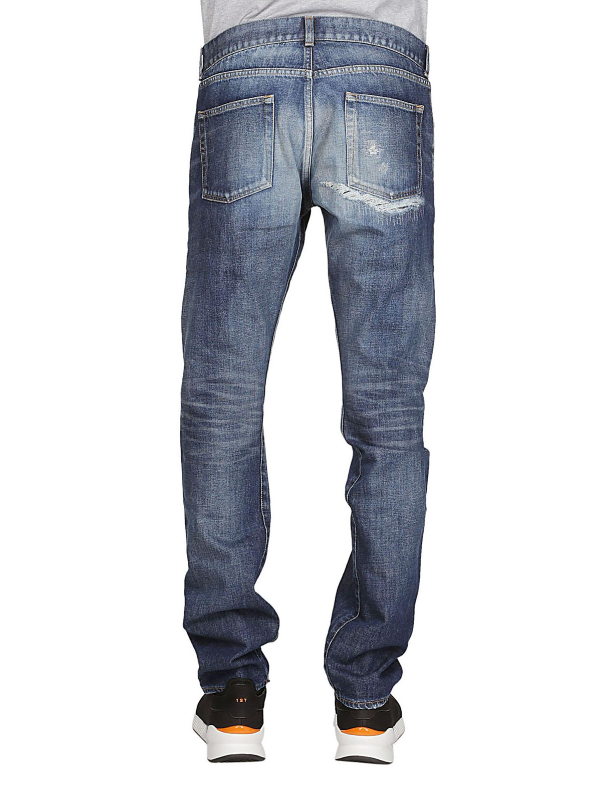 00077bff Saint Laurent - Faded jeans with back rip - straight leg jeans ...
