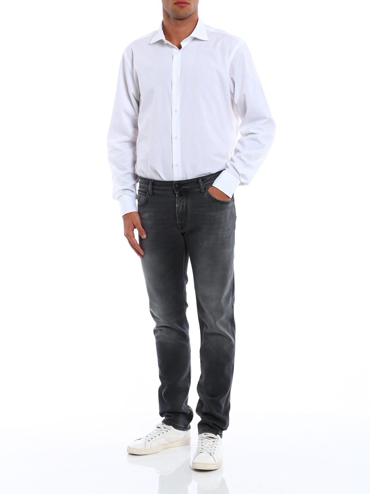 jacob cohen straight leg jeans grau straight leg. Black Bedroom Furniture Sets. Home Design Ideas
