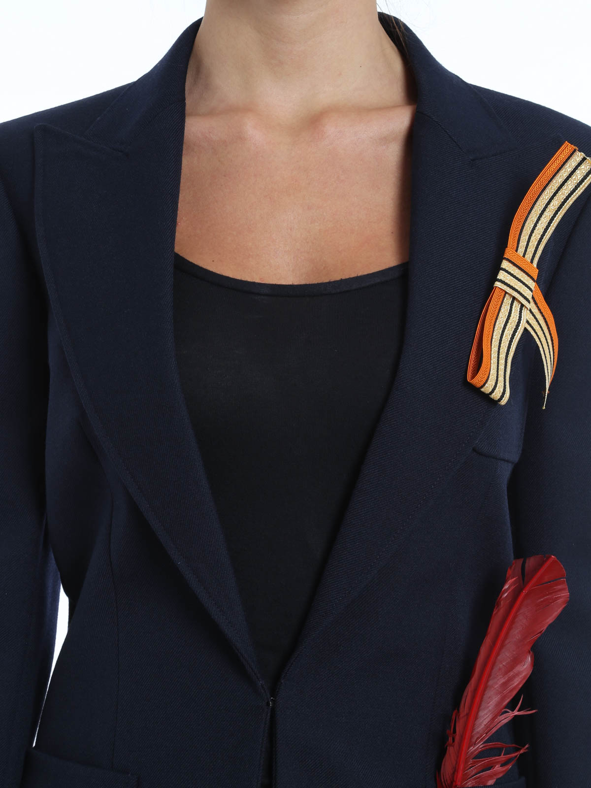 button collarless solid blazer com brooch chic fashionmia decorative products