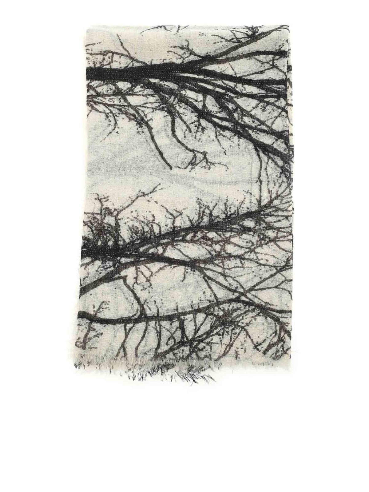 Faliero Sarti Scarves LUCITA PRINTED SCARF IN BLACK AND BEIGE