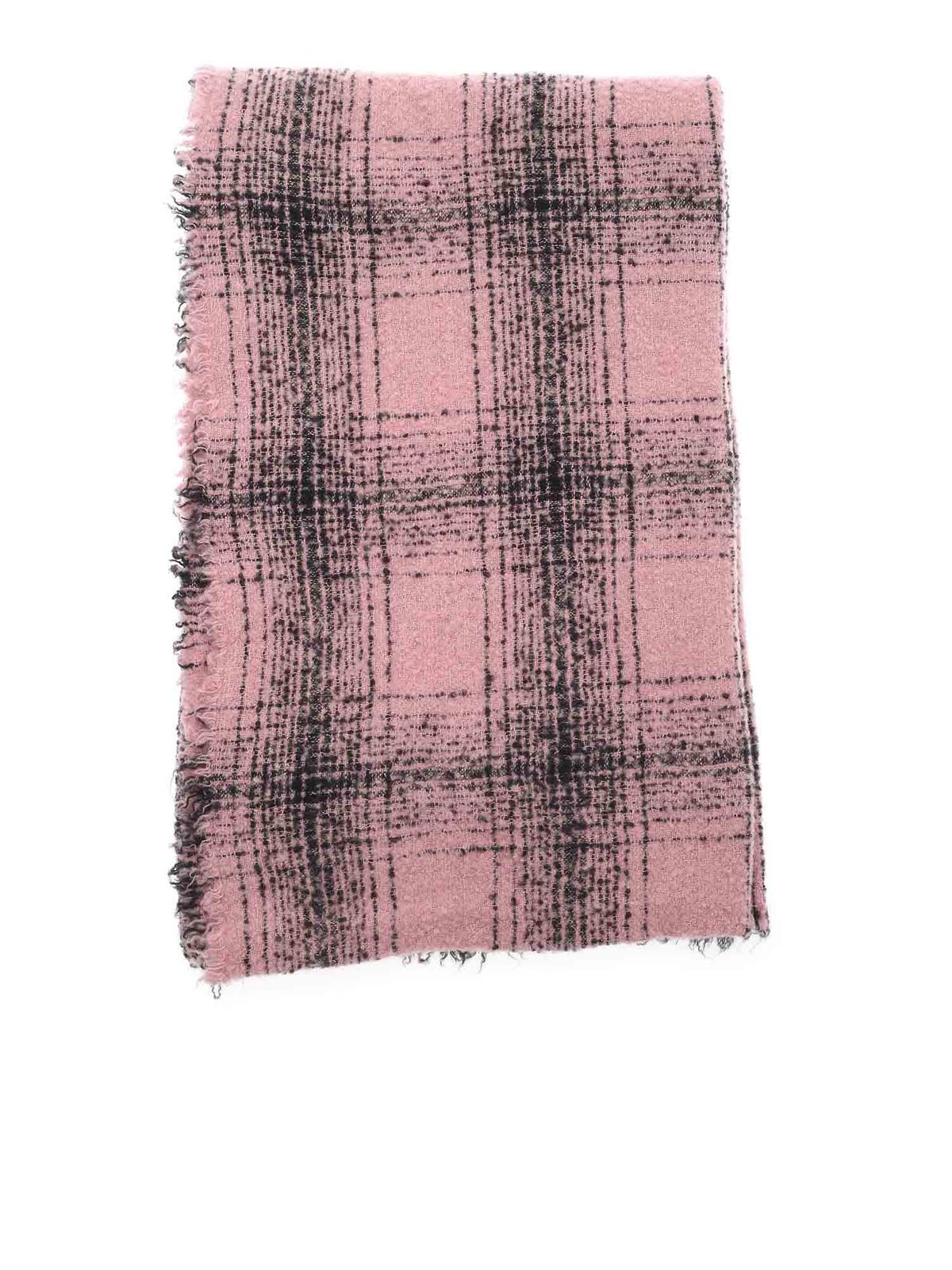 Faliero Sarti Scarves MILA CHECKED SCARF IN PINK AND BLACK
