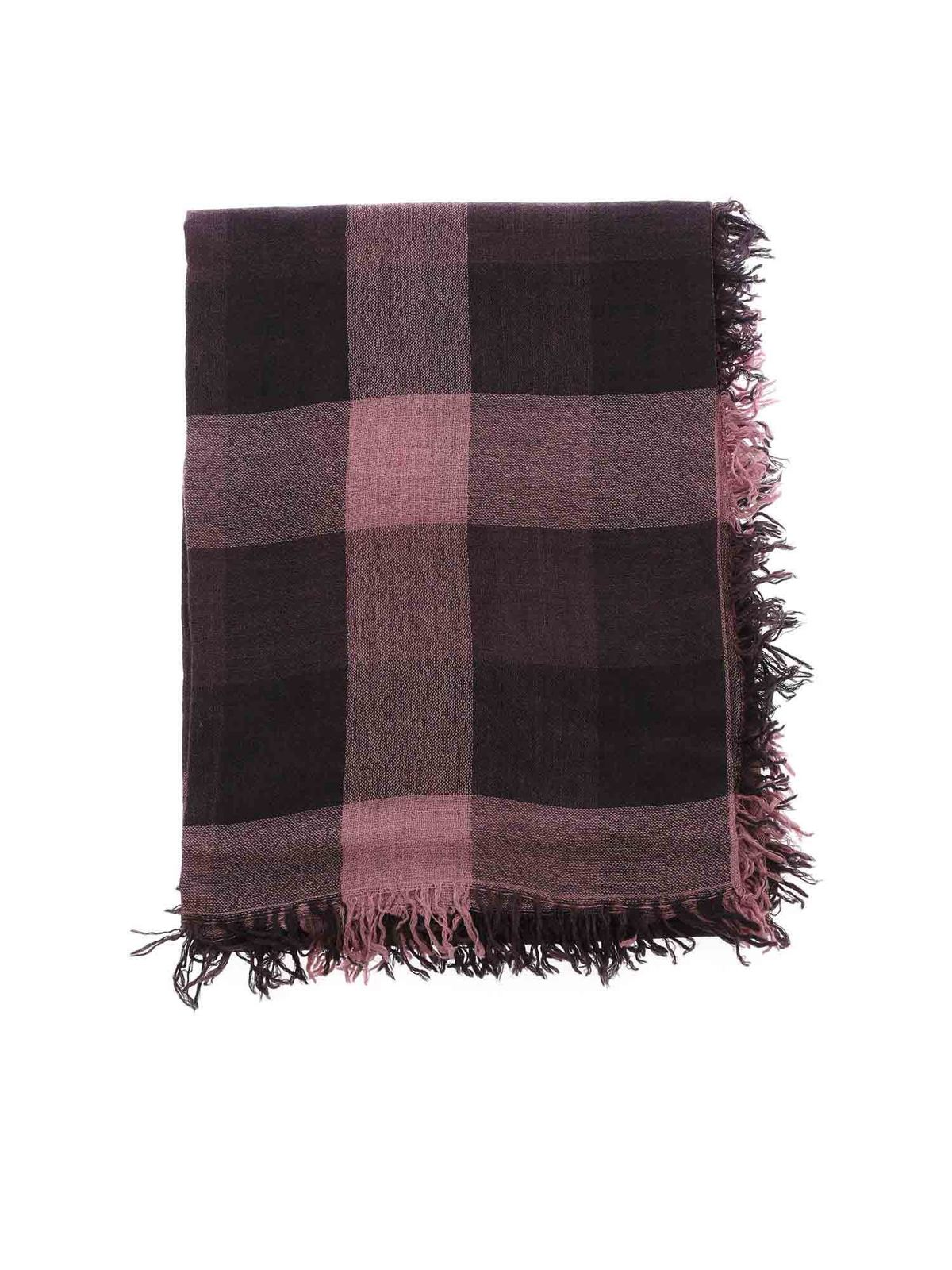 FALIERO SARTI OLISA CHECKED SCARF IN PINK AND PURPLE