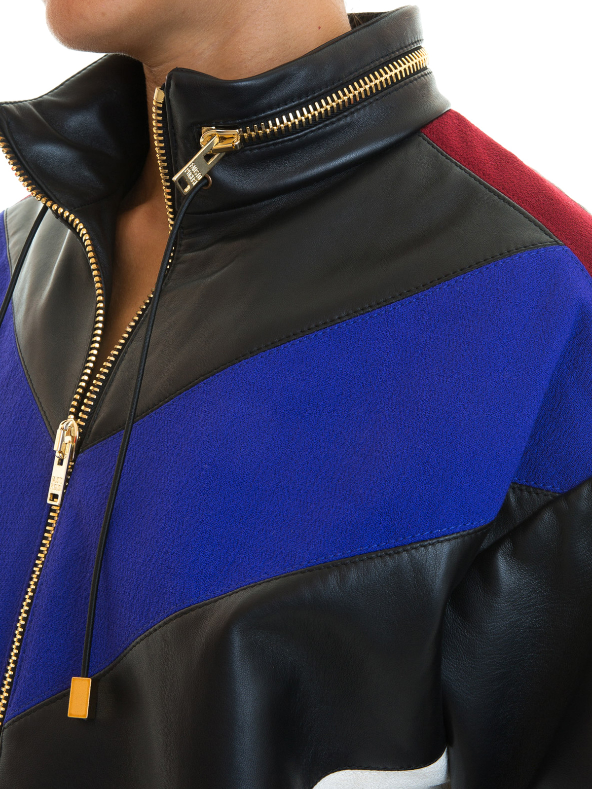 Chevron fabric and leather bomber by Fausto Puglisi - leather ...