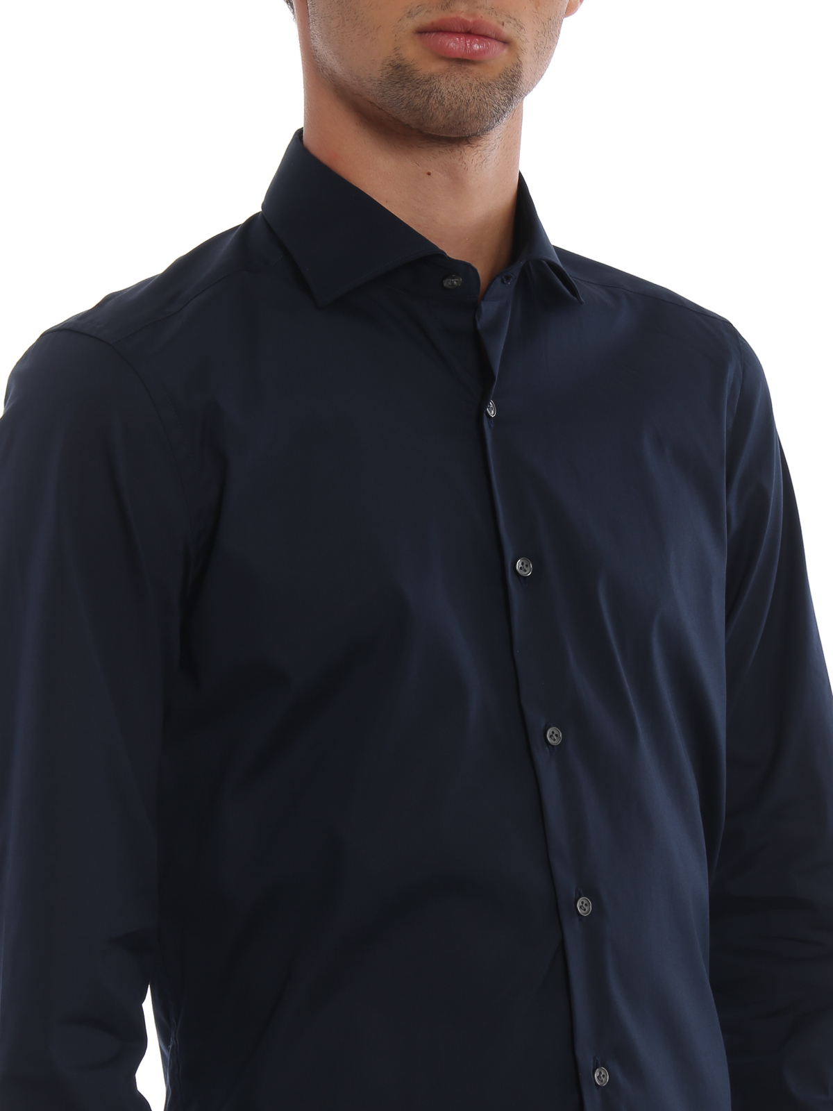 dd52082c21b5 Fay - Dark blue stretch cotton poplin shirt - shirts ...