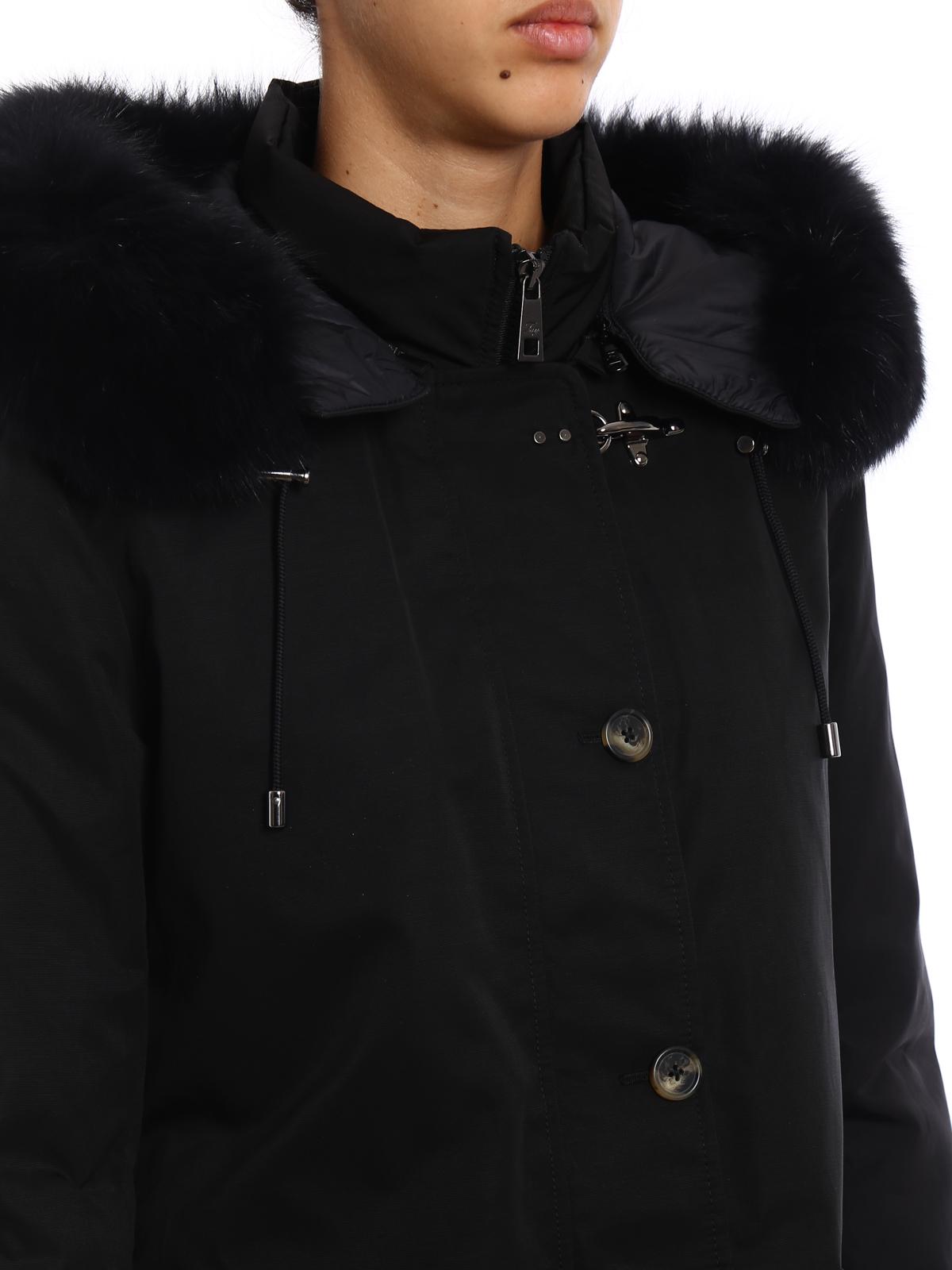 detailed look 4dac6 9f2be Fay - Parka nero imbottito con pelliccia - cappotti ...