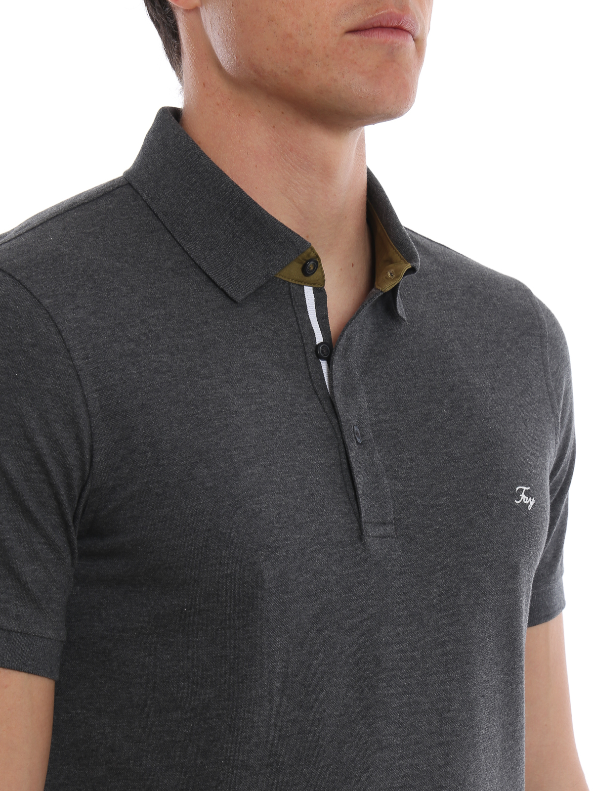 1e5434a7 Fay - Grey polo shirt with contrasting detail - polo shirts ...