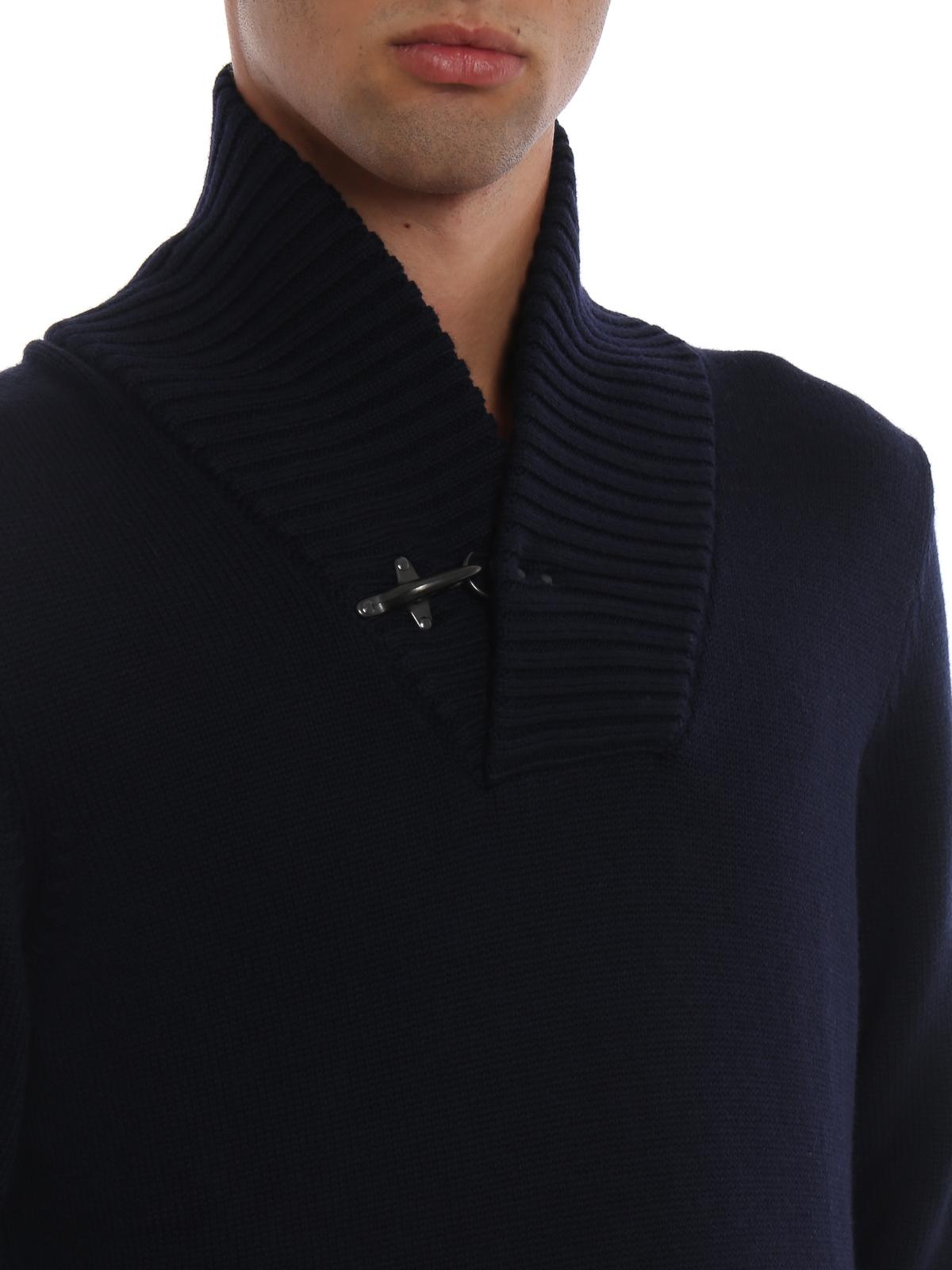 design senza tempo c7de7 7694b Fay - Maglione a V in lana con iconico Gancio - maglia collo ...