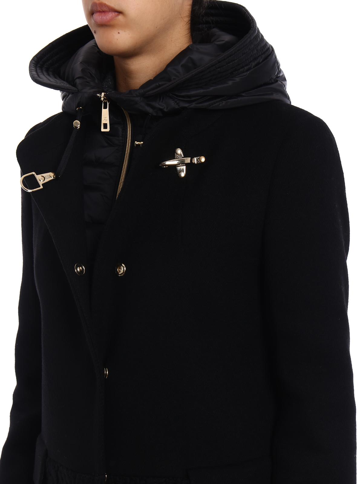 super popular 5ef94 b234b Fay - Cappotto nero in panno e maglia - cappotti corti ...