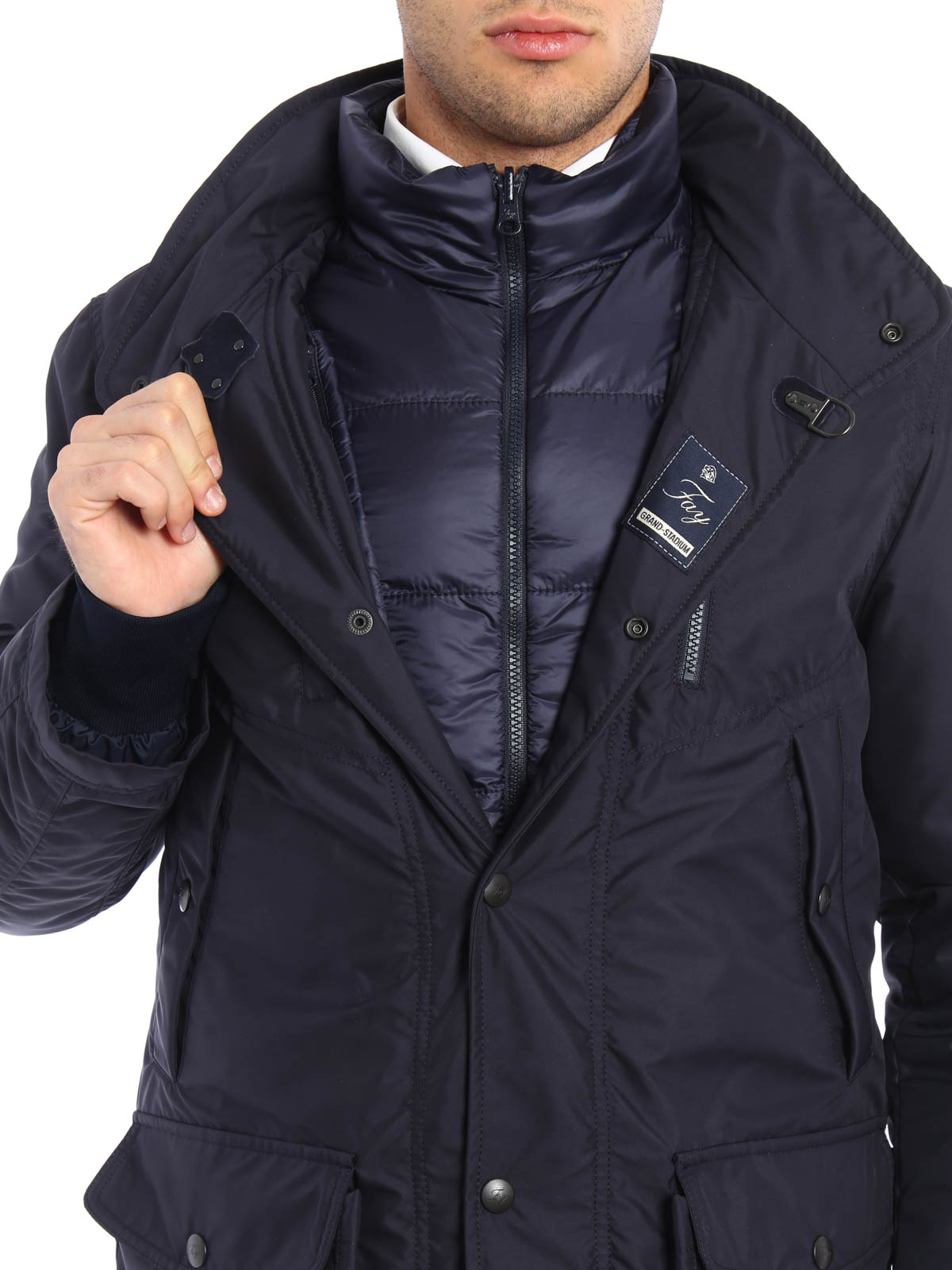 hot sale online 7cea6 29f8c Fay - Nylon field jacket with waistcoat - padded jackets ...