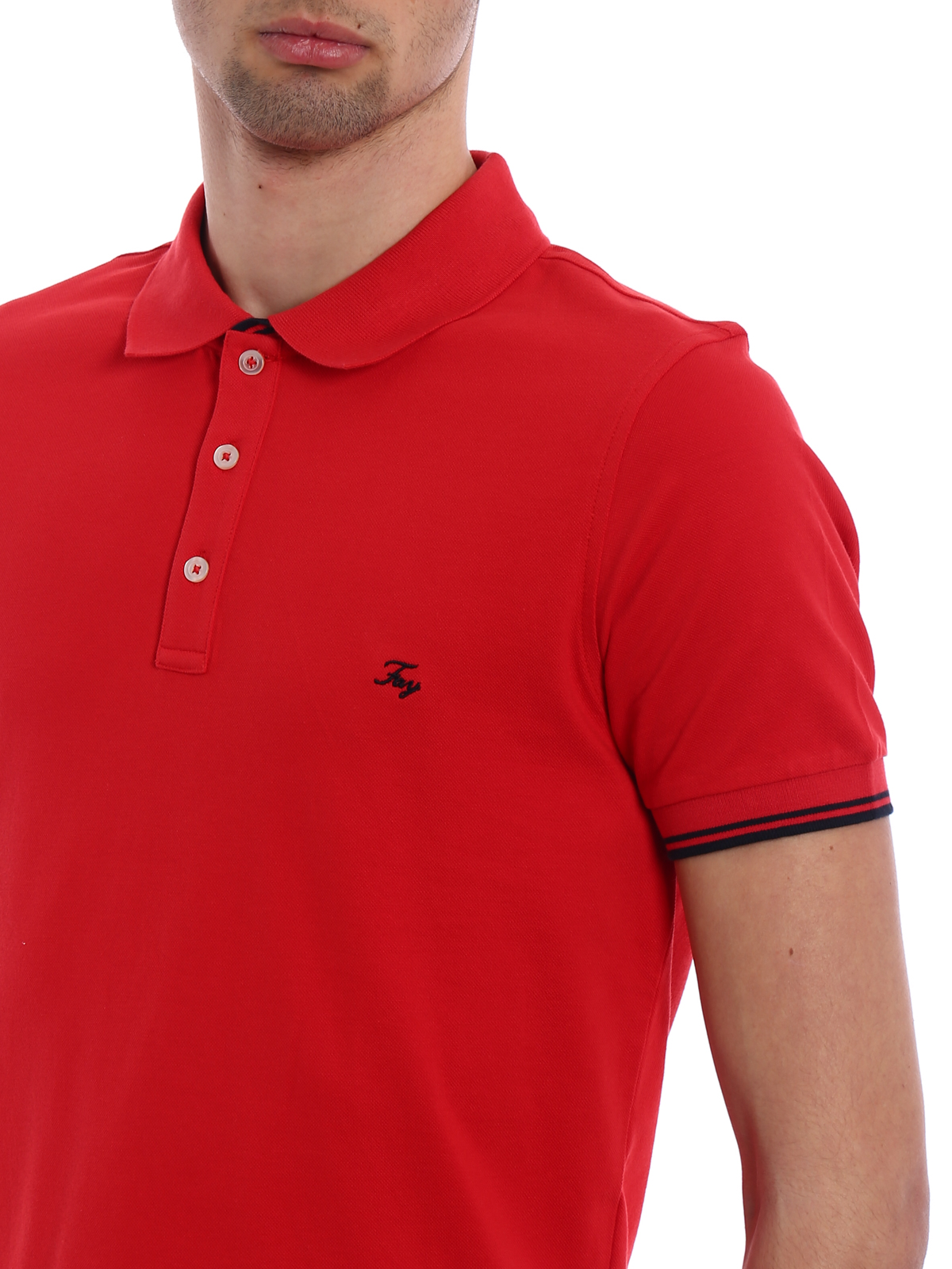 c79861d8 Fay - Pique double collar polo shirt - polo shirts - NPMB236134SITOR005