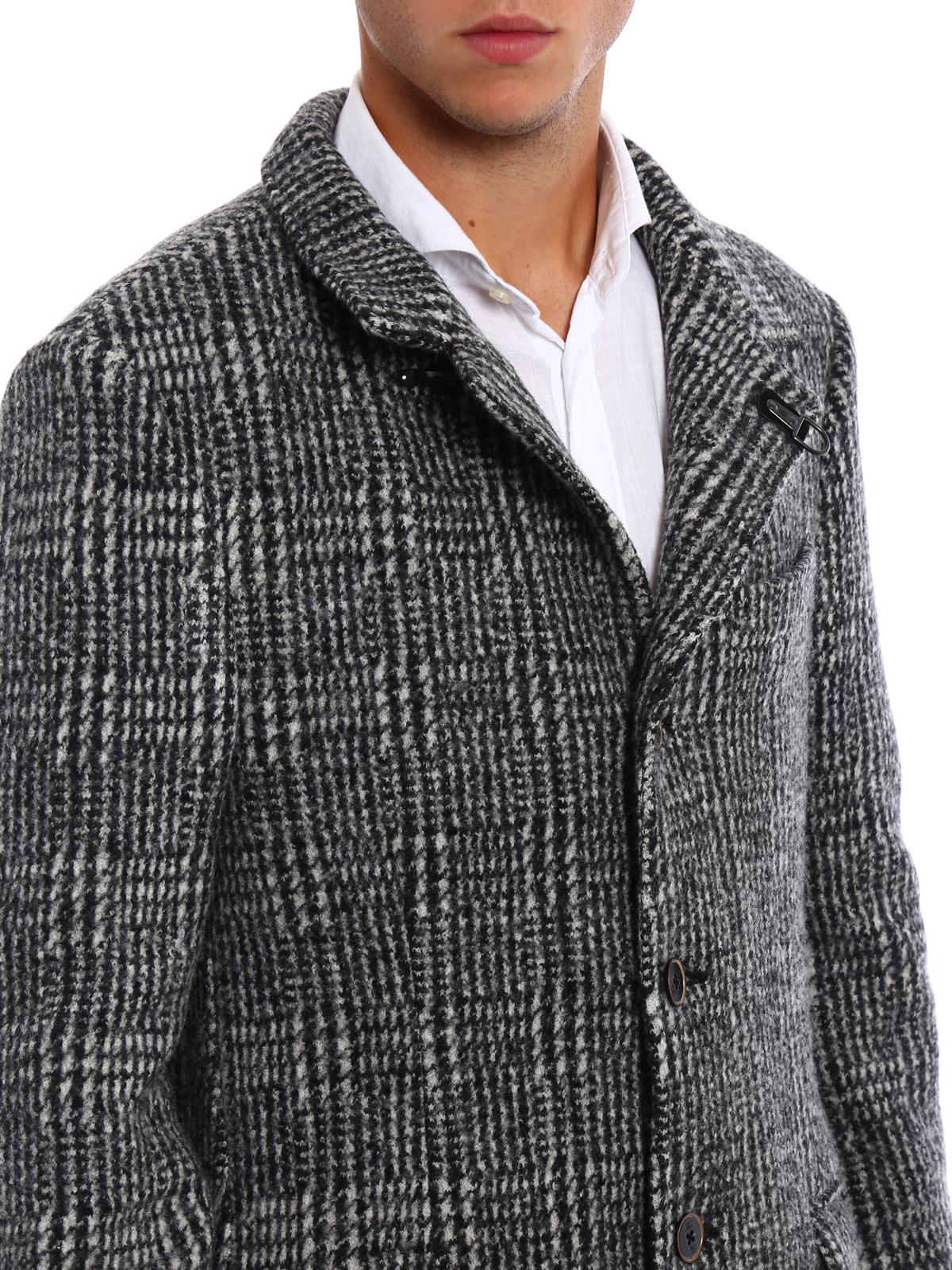 timeless design c58e8 28c0b Fay - Cappotto in lana Principe di Galles - cappotti corti ...