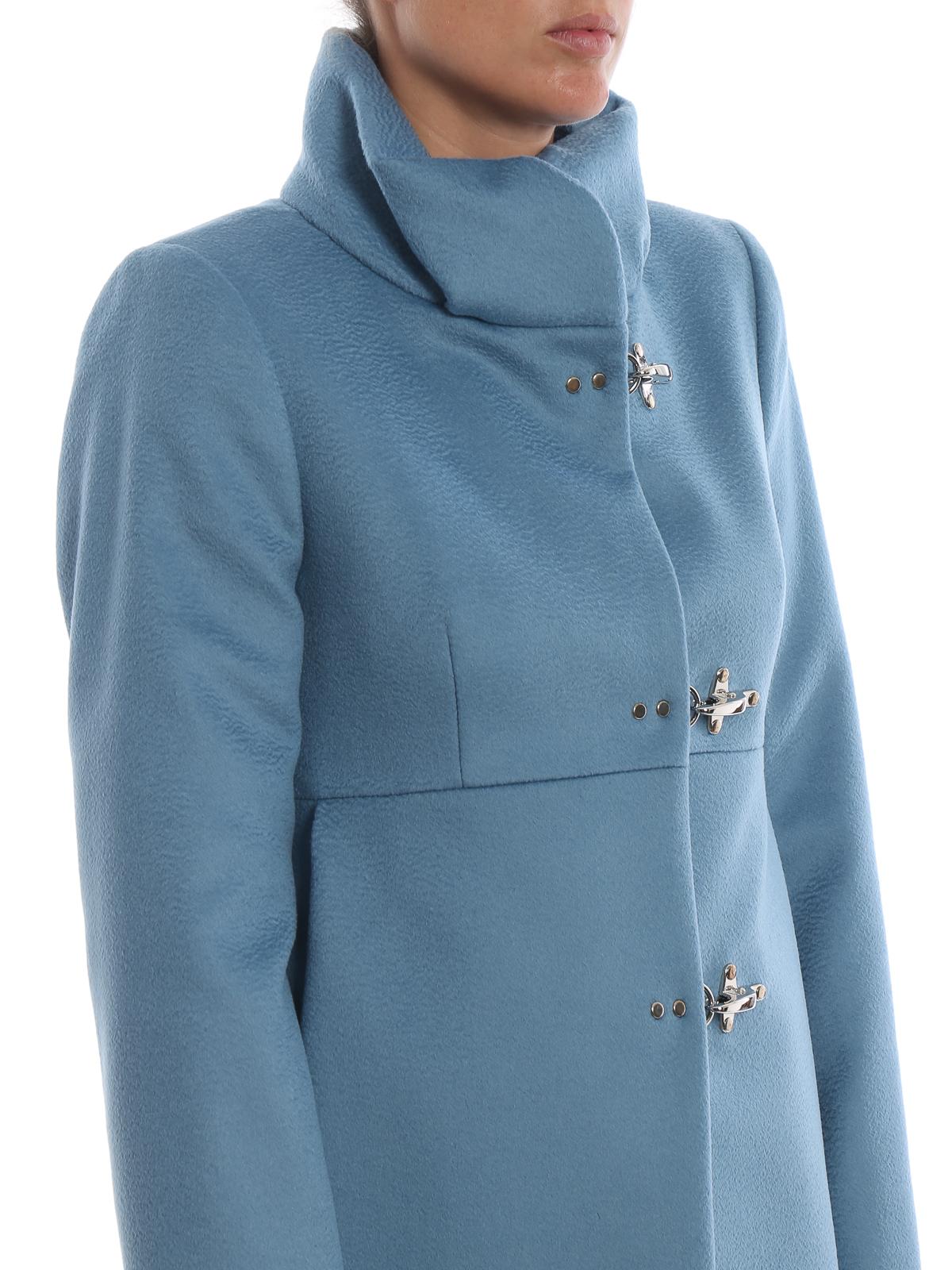 Fay Cappotto Romantic celeste in lana e cashmere