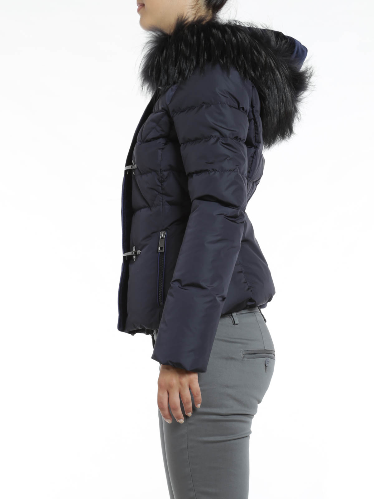 Fay Short Down Jacket With Fur Hood Padded Jackets