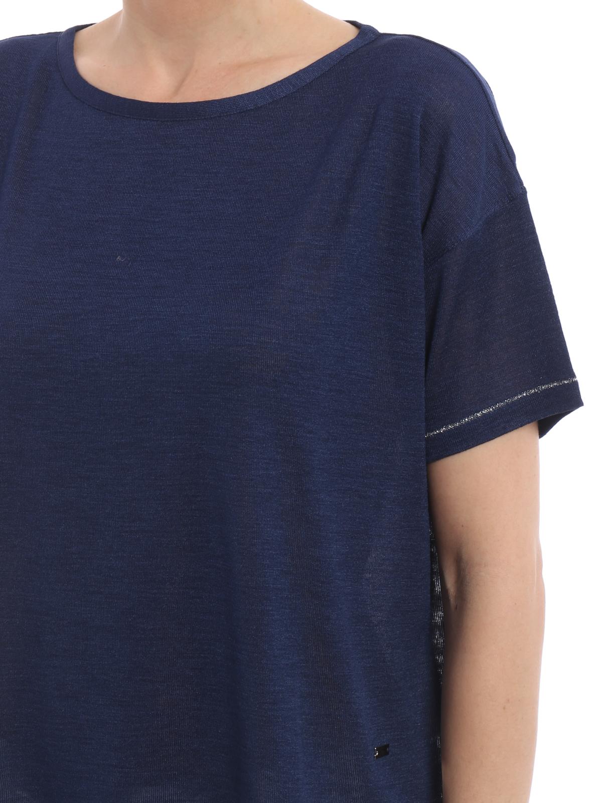 Silk Jersey Boxy T Shirt By Fay Boat Necks Shop Online