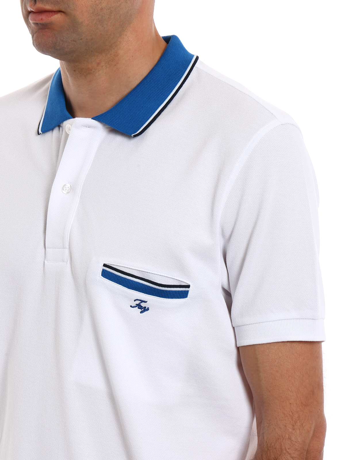 20cfc644 Fay - White polo shirt with pocket - polo shirts - NPMB2361510HPAB001