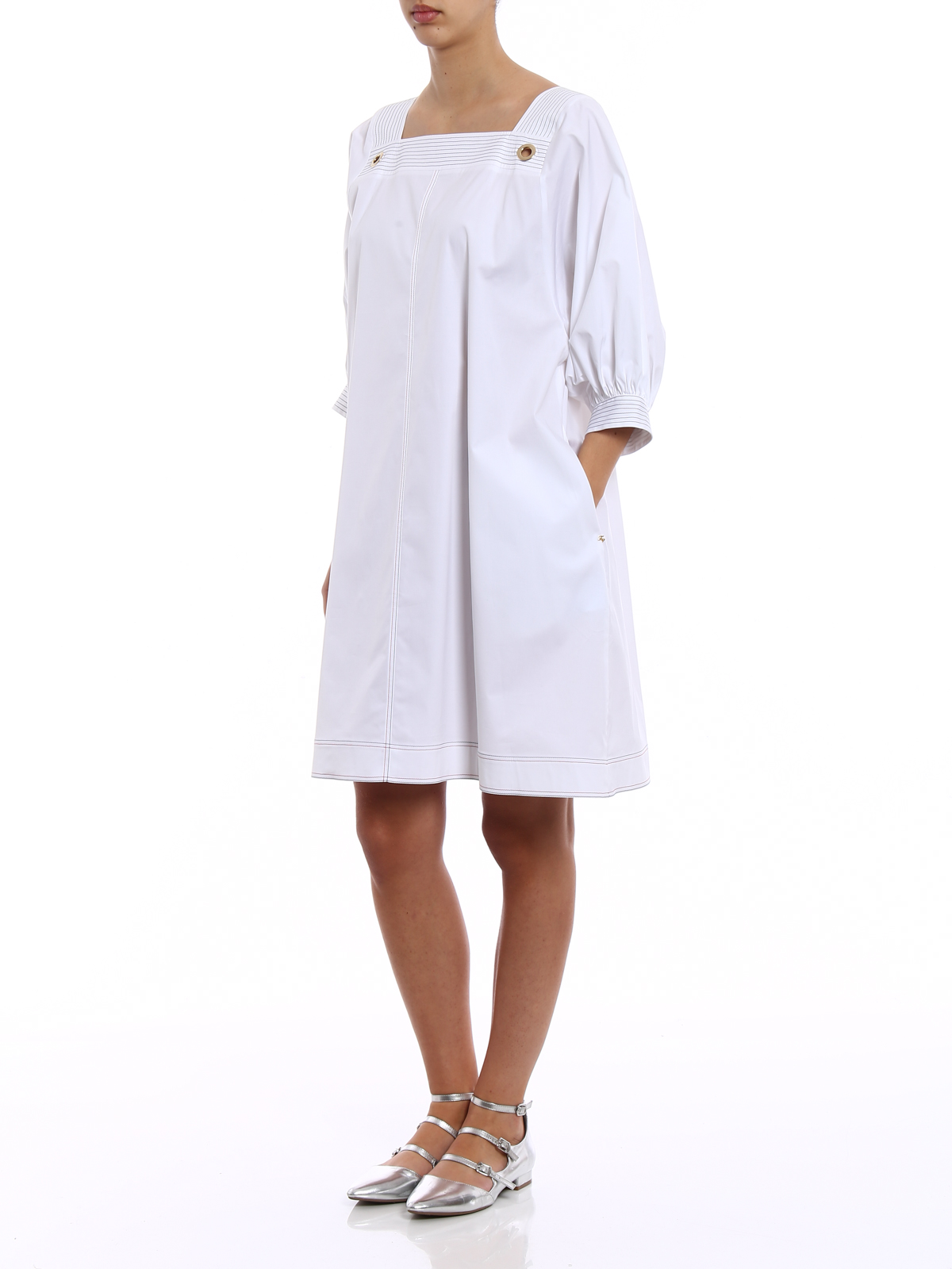 White dress with top-stitching details Fay Cheap Sale 100% Guaranteed Discount Aaa vgzd45fJYa