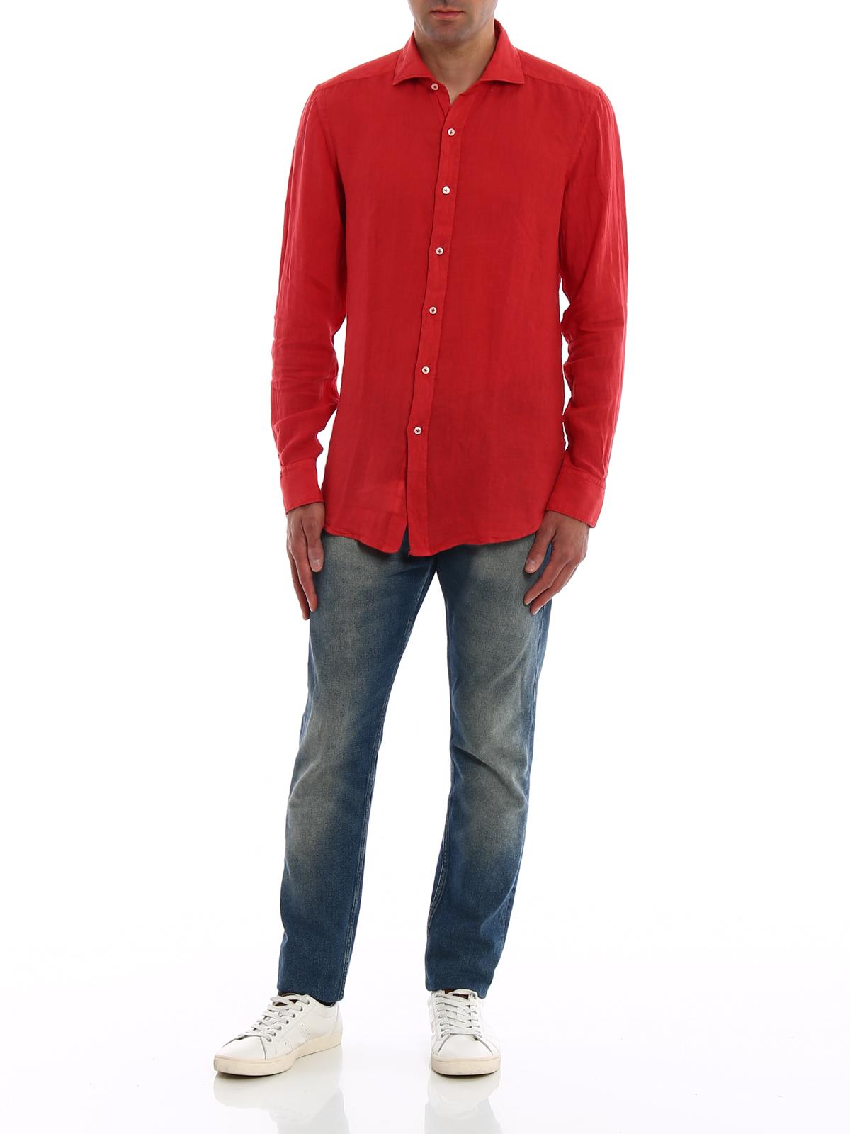 watch dbab2 03f15 Fay - Camicia casual in lino rosso - camicie ...