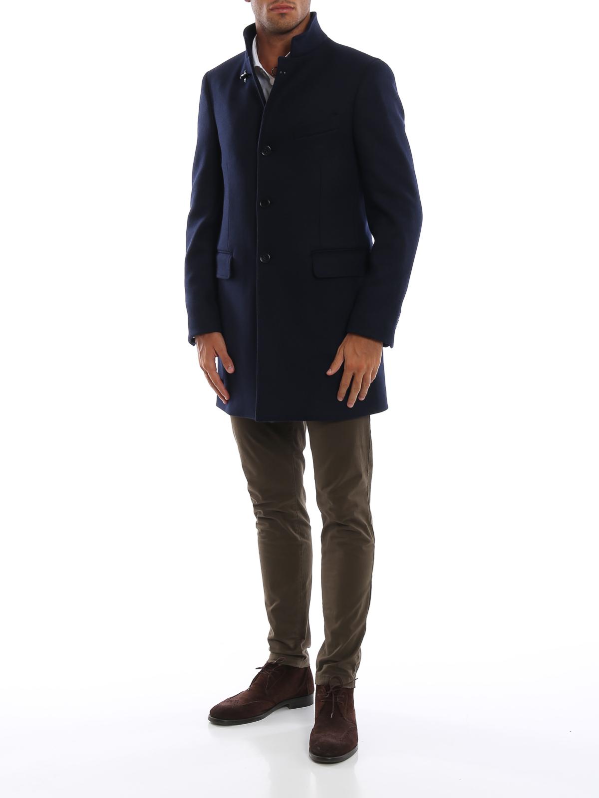 fa61ae9f02 Fay - Cappotto blu scuro in panno di misto lana - cappotti corti ...