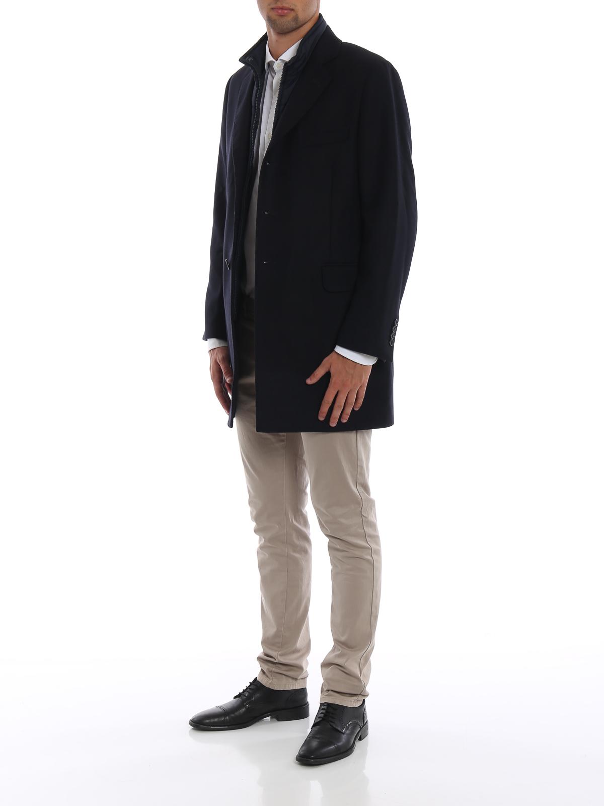 FAY  cappotti corti online - Cappotto in lana spigata con gilet staccabile 85b7f5c0cb0