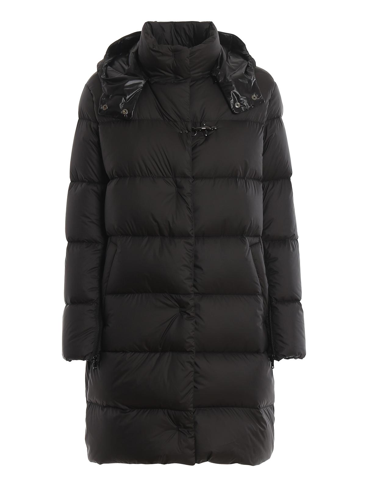 buy popular defe8 ffe89 Fay - Piumino lungo nero opaco con cappuccio - cappotti ...