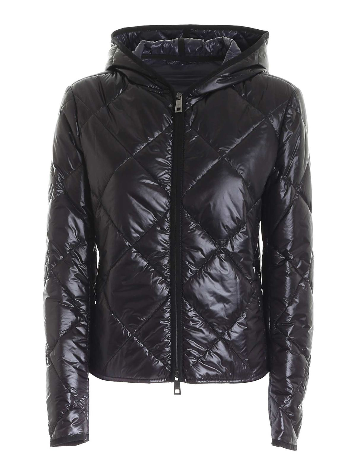 Fay QUILTED BLACK DOWN JACKET WITH HOOD