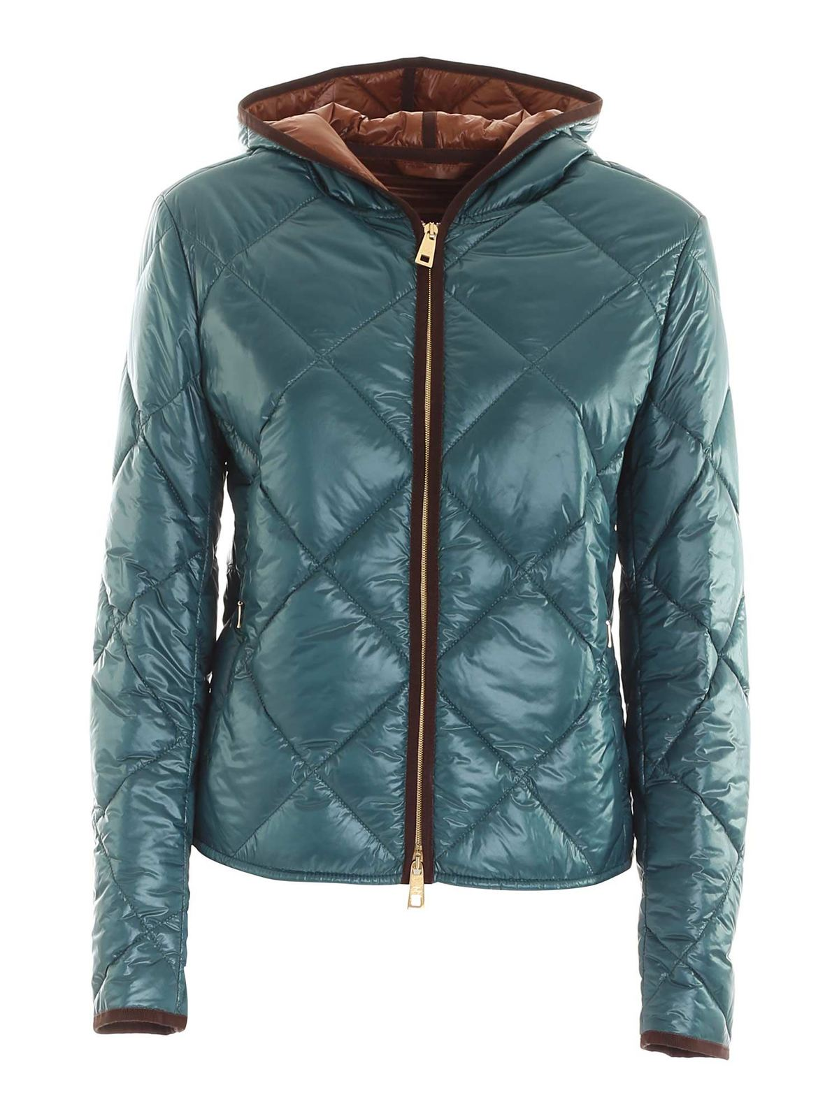Fay QUILTED HOODED DOWN JACKET IN GREEN