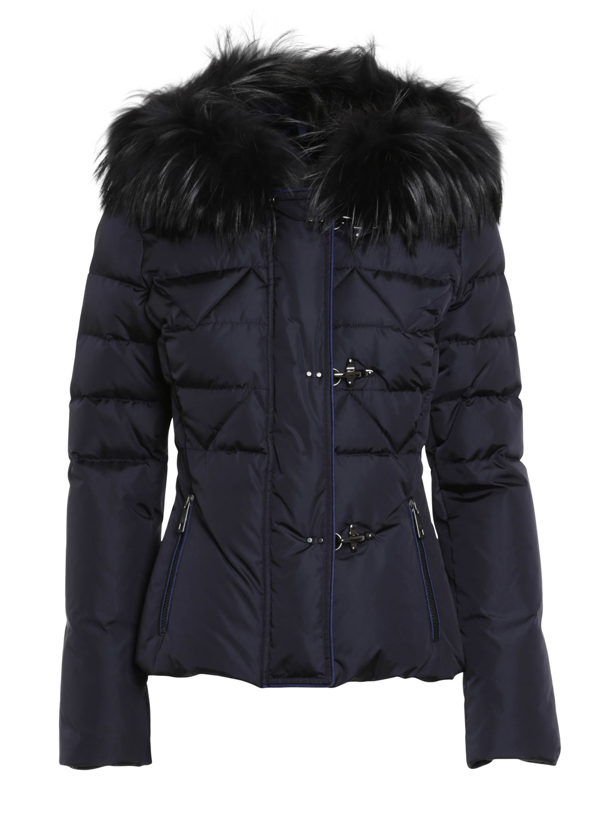 Short Down Jacket With Fur Hood By Fay - Padded Jackets | IKRIX