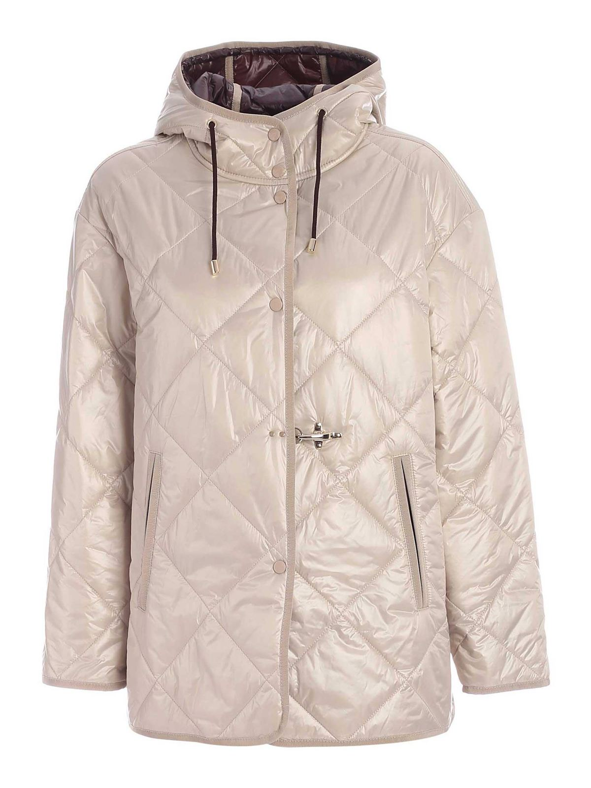 Fay QUILTED HOODED DOWN JACKET IN IVORY COLOR