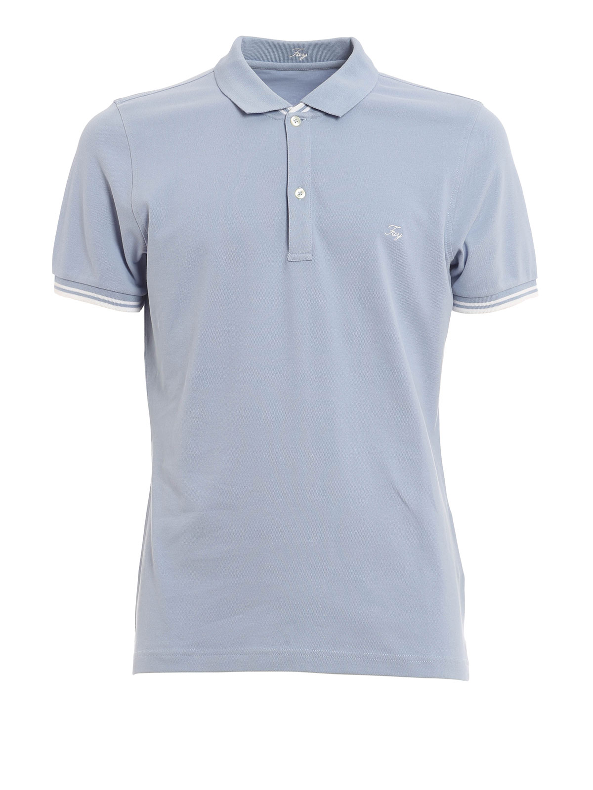 cotton polo with logo embroidery by fay polo shirts