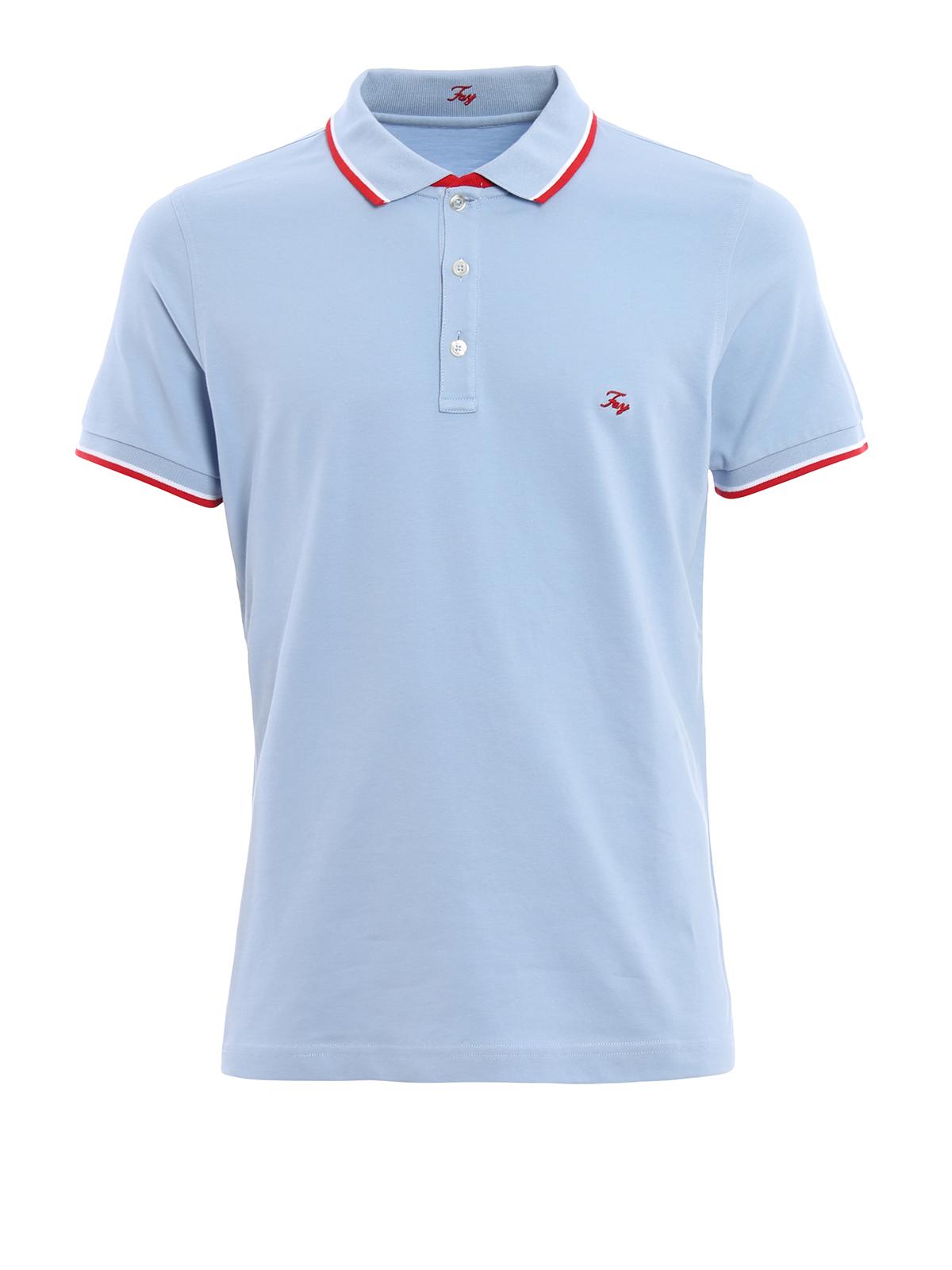 Embroidered logo cotton pique polo by fay polo shirts for Embroidered logos on shirts