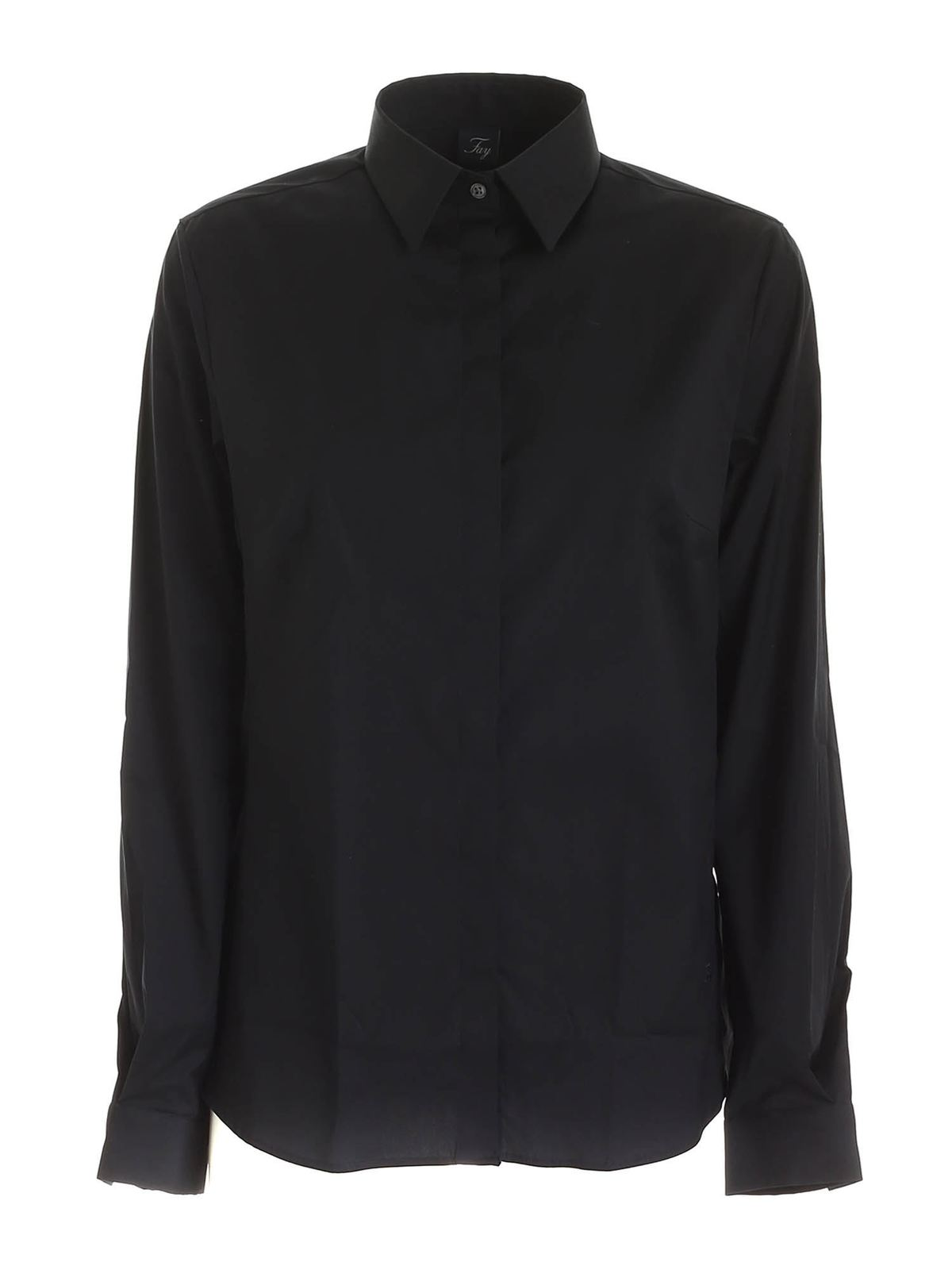 Fay LOGO EMBROIDERY SHIRT IN BLACK