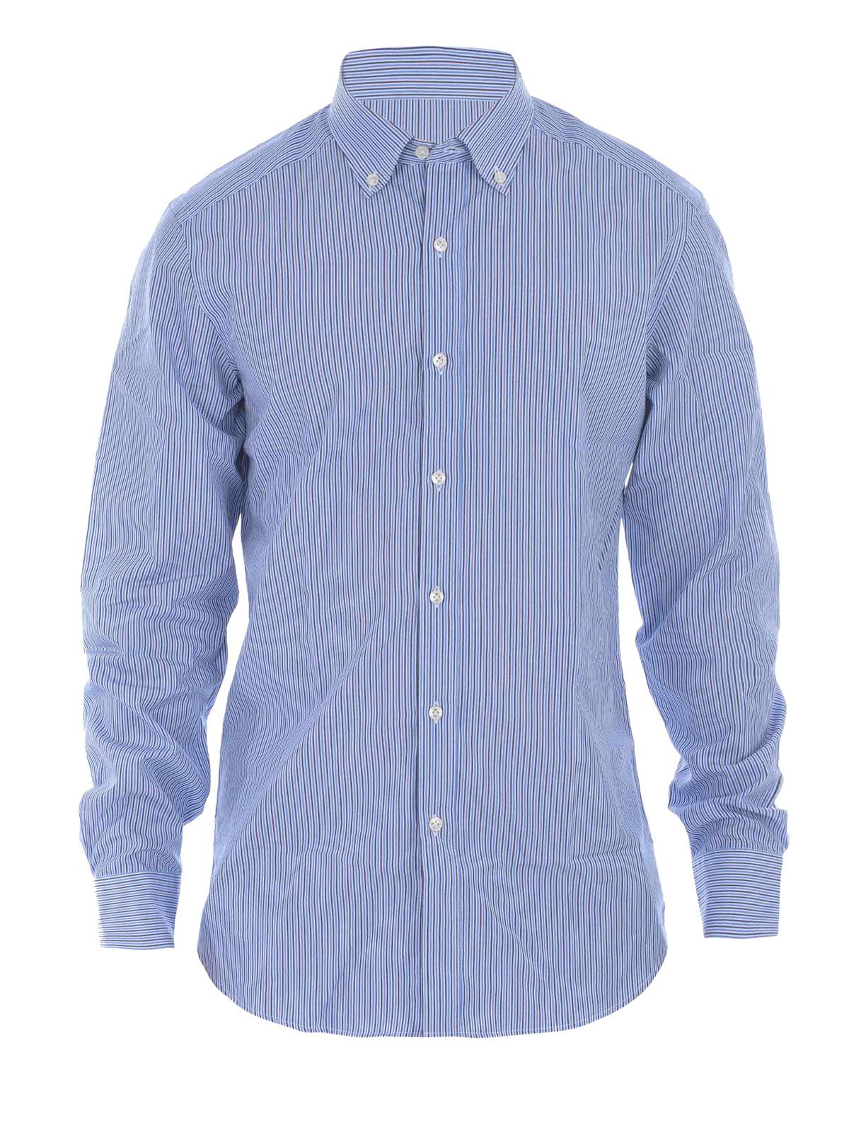 Striped Cotton Button Down Shirt By Fay Shirts Ikrix