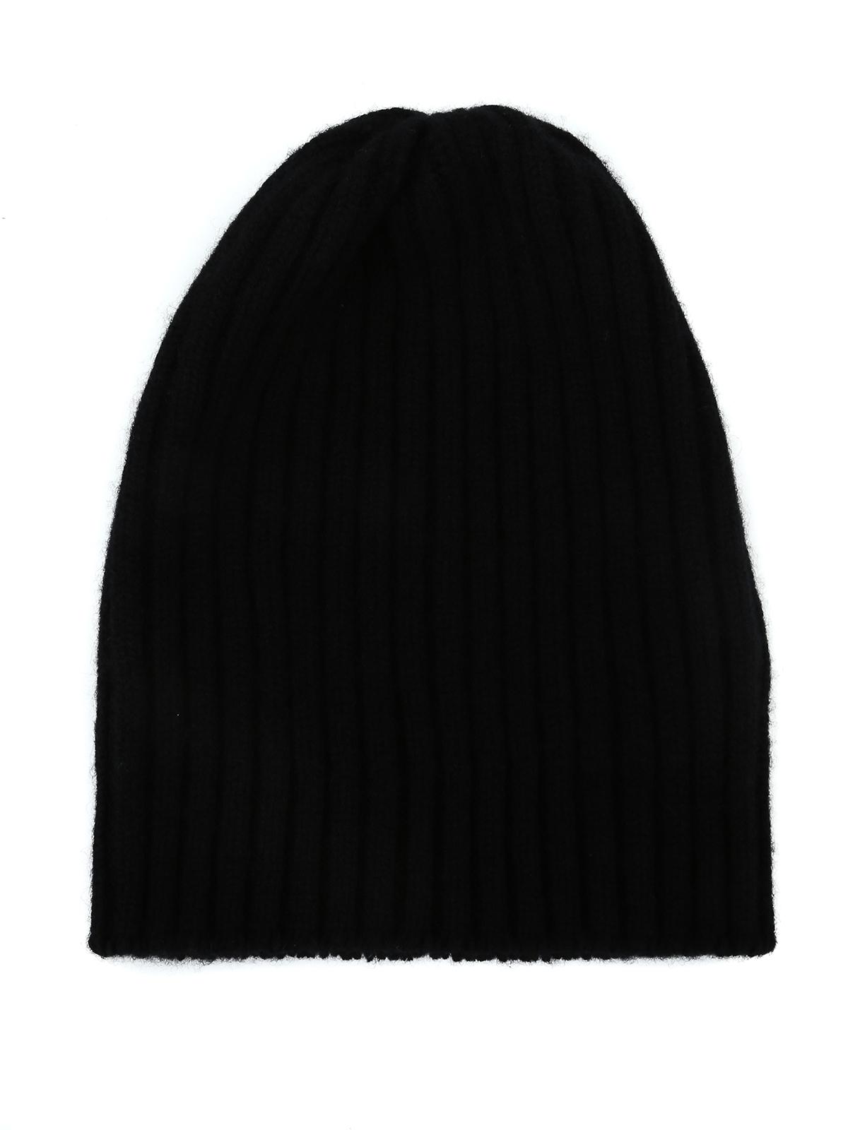 986f1ce464d17 Fedeli - Black rib knitted cashmere beanie - beanies - 1UI0806NERO