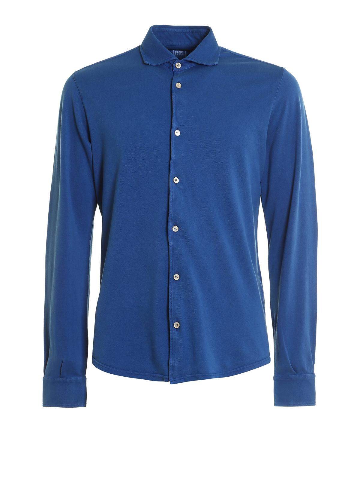 Steve Long Sleeve Pique Shirt By Fedeli Shirts Ikrix