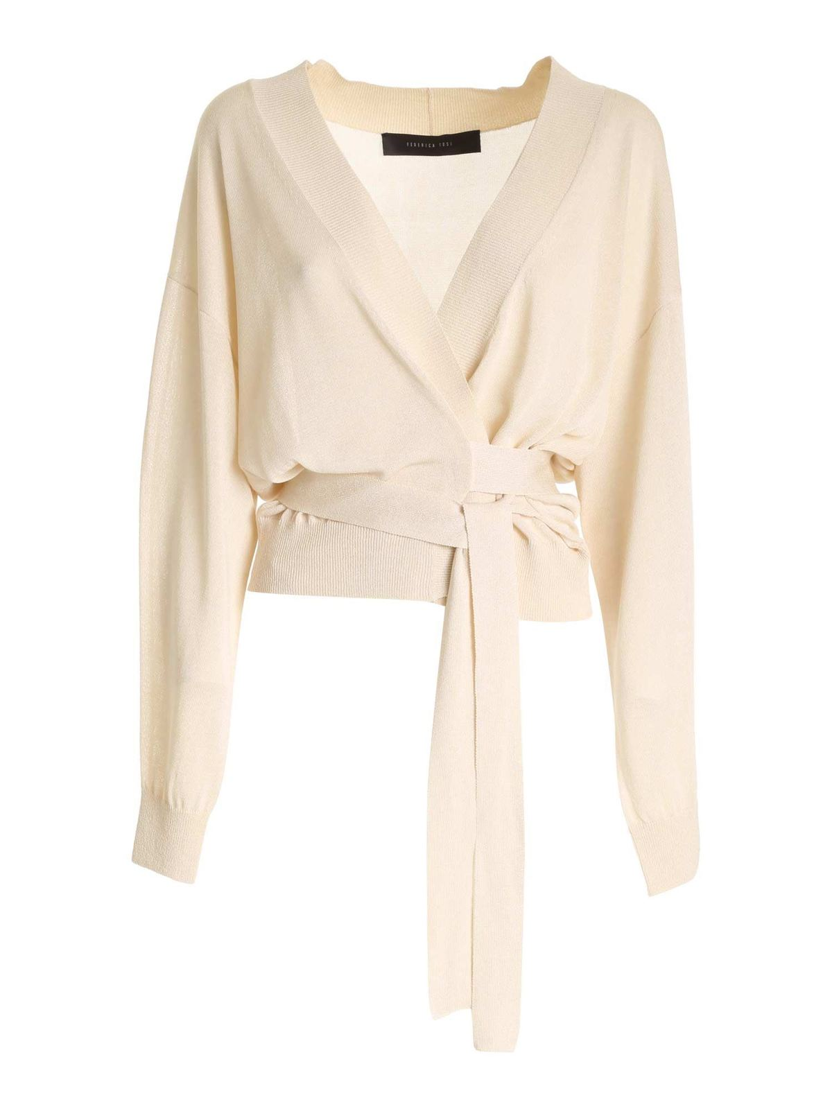 Federica Tosi Cardigans BELTED CARDIGAN IN IVORY