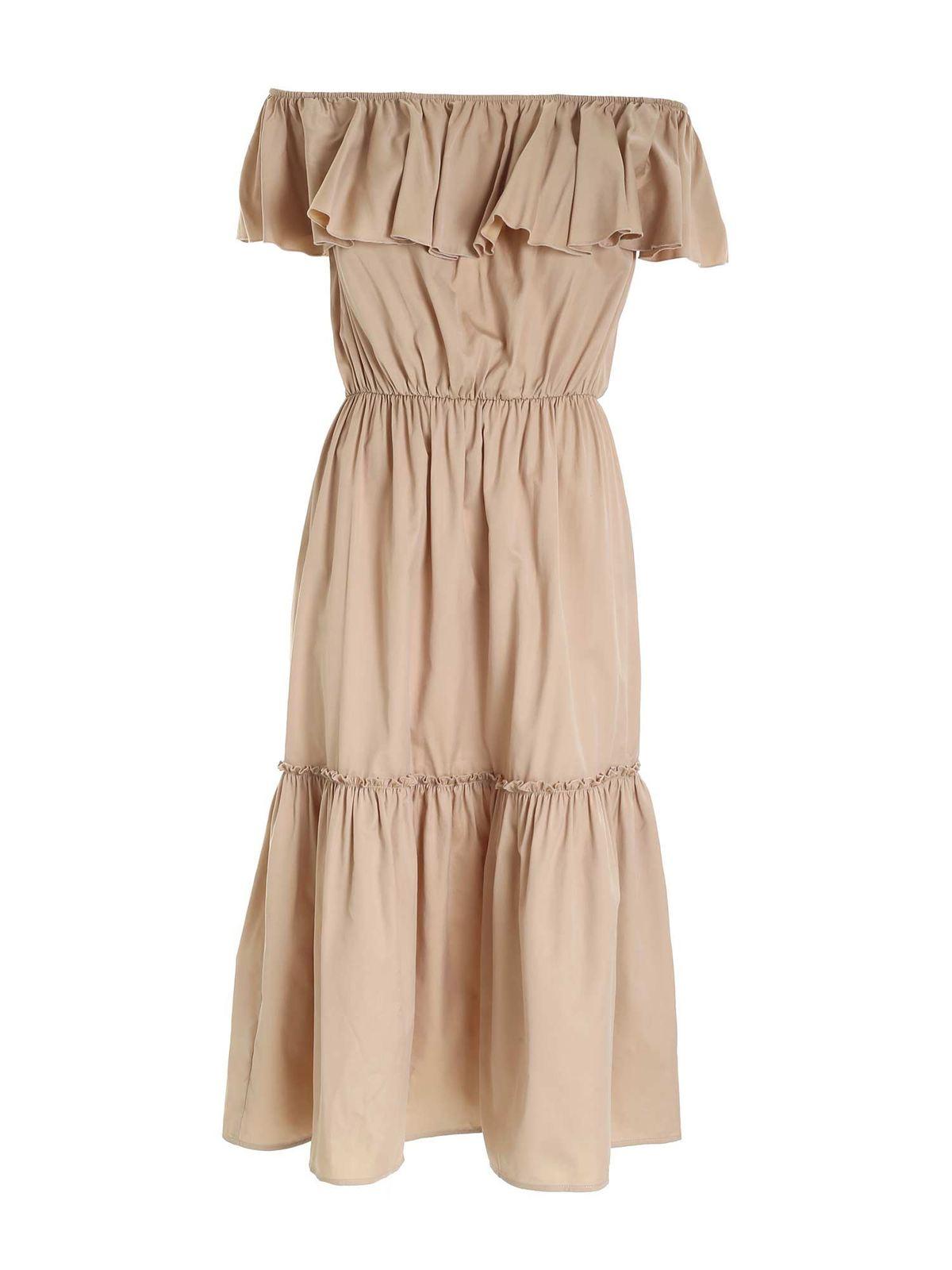 Federica Tosi Dresses RUFFLES LONG DRESS IN BEIGE
