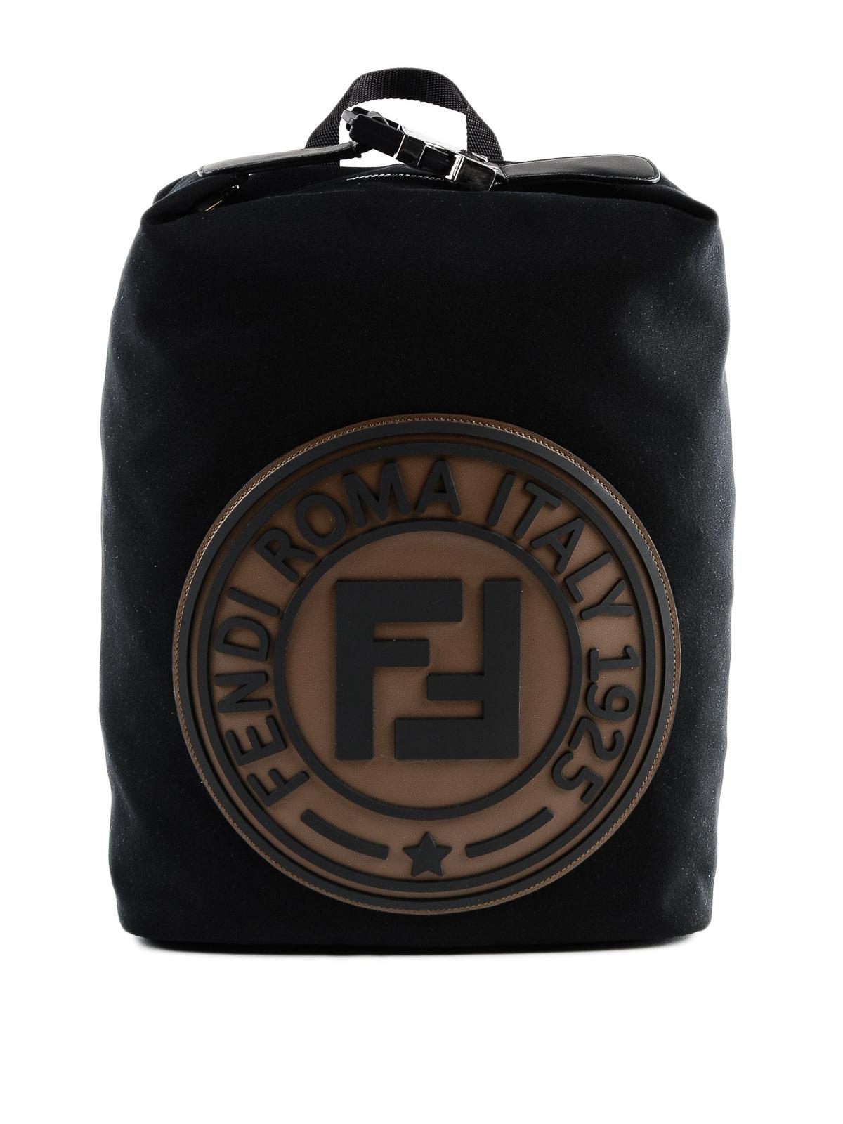 f883f8216772 Fendi - Front rubber logo black canvas backpack - backpacks ...