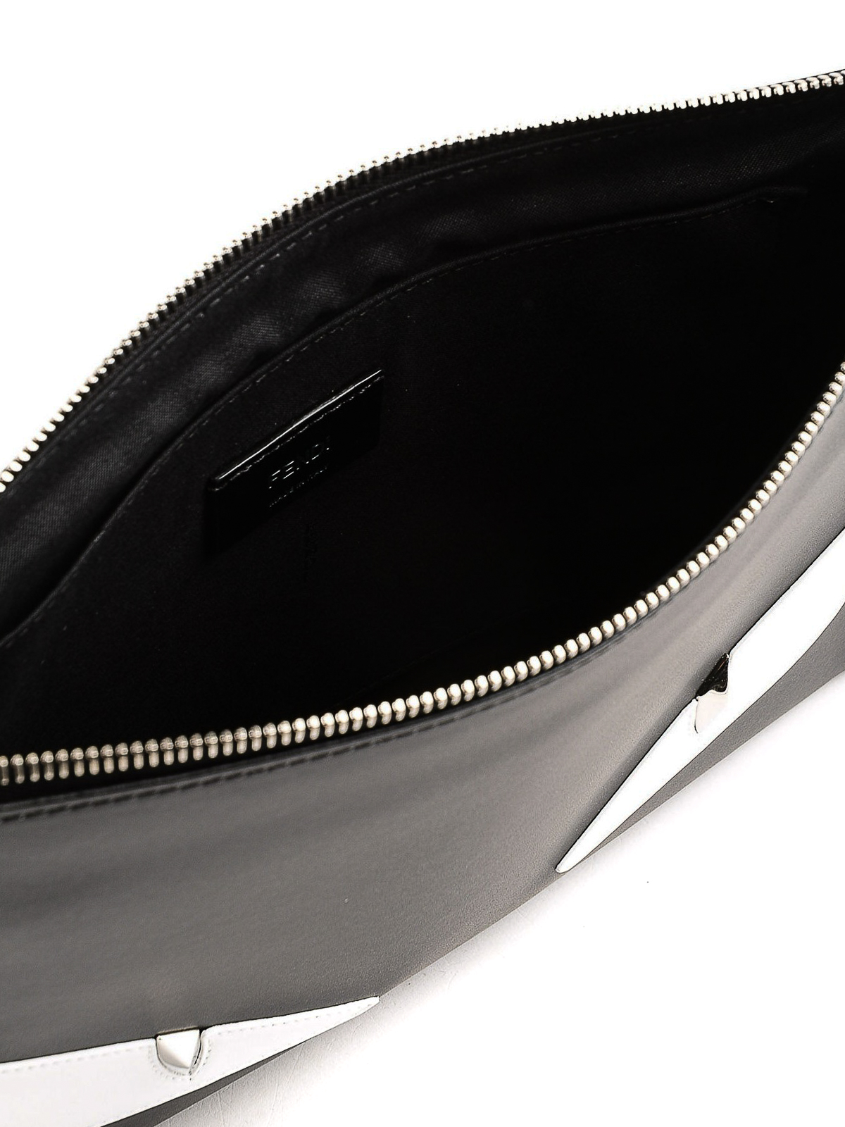 Fendi - Silver-tone metal eyes zipped leather pouch - clutches ... cd22917bc65a8