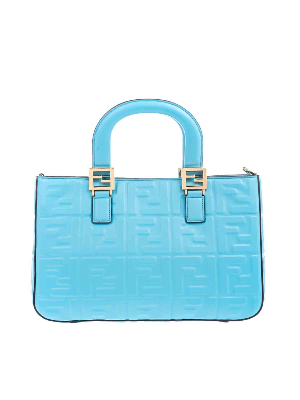 Fendi Leathers FF LOGO TEXTURED SMALL TOTE BAG IN TURQUOISE