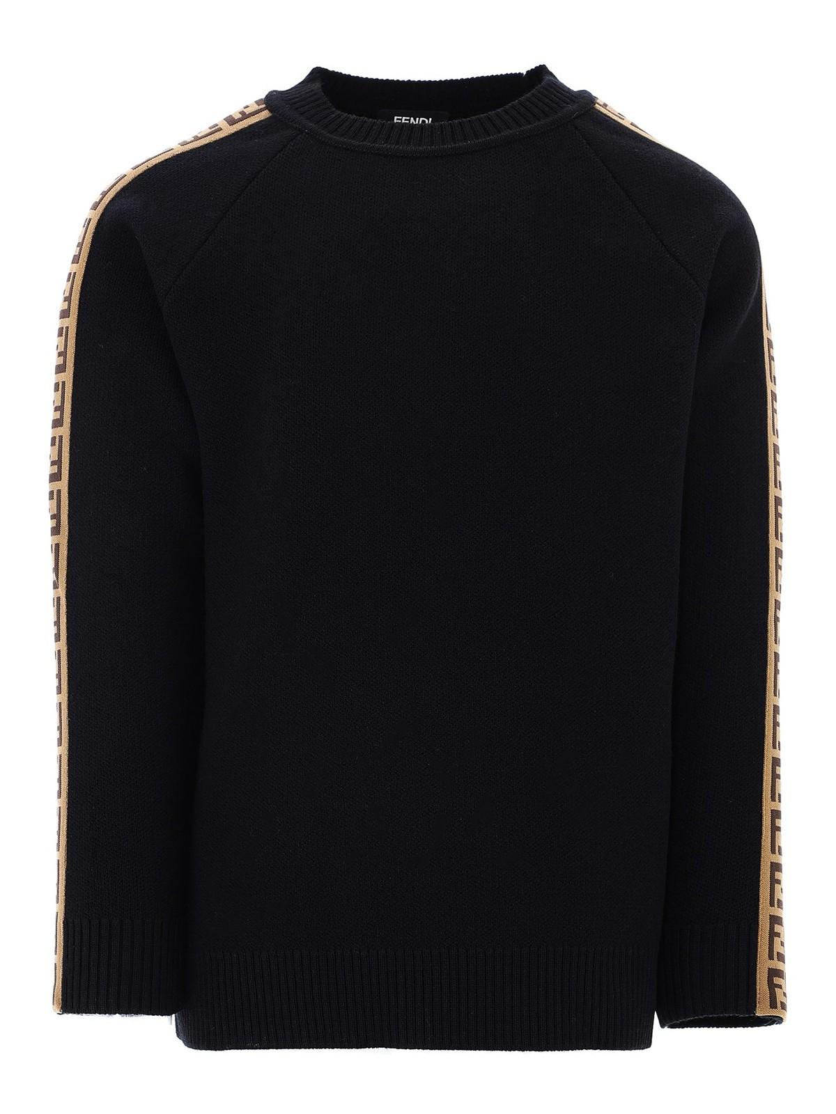 Fendi Jr Clothing LOGO BAND VIRGIN WOOL SWEATER