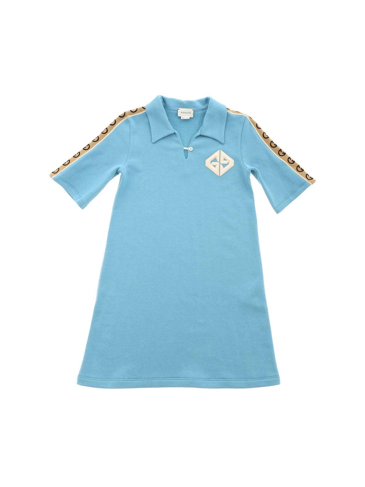 Fendi Jr Cottons GG COTTON DRESS IN LIGHT BLUE