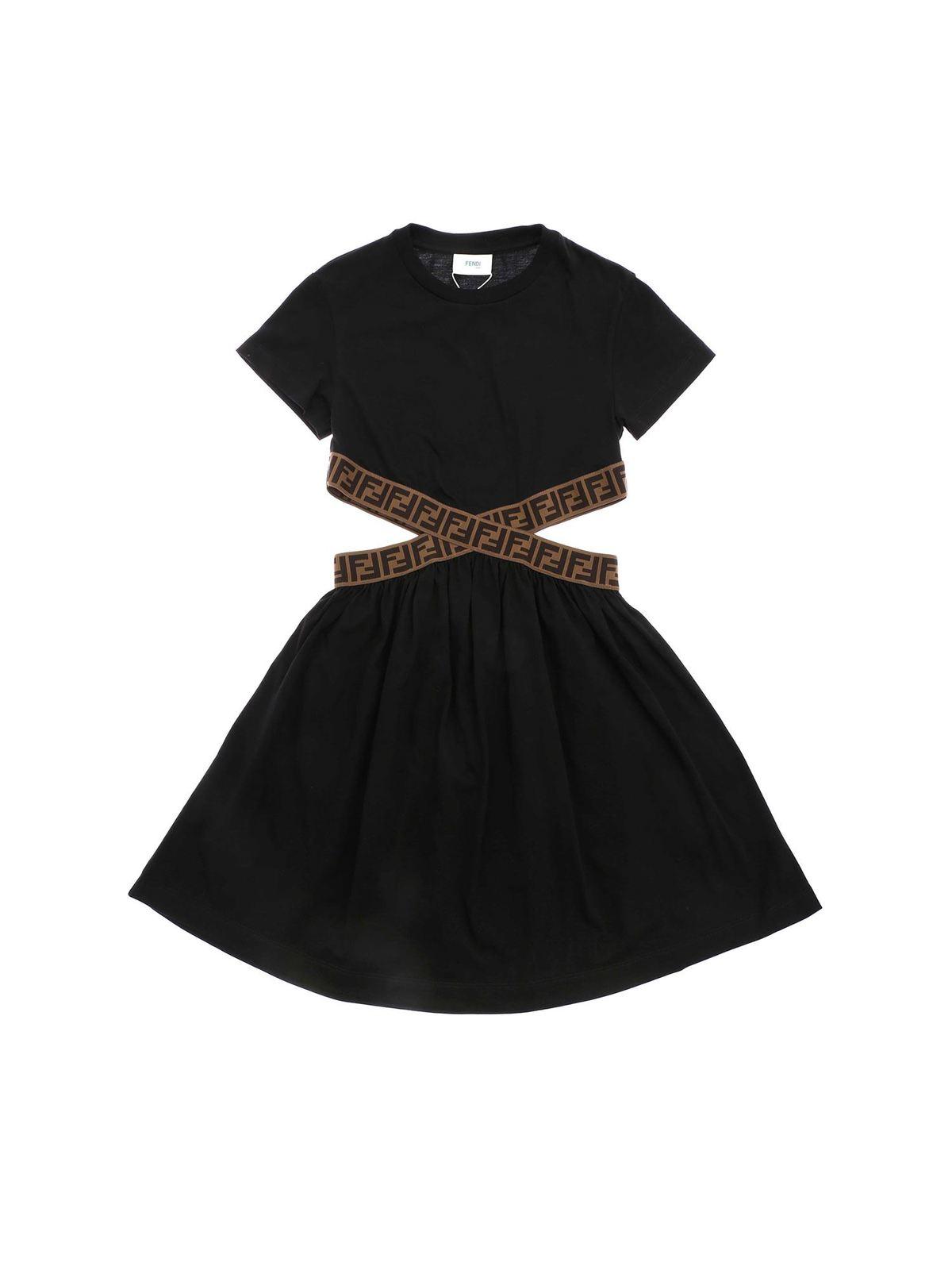 Fendi Jr Cottons ZUCCA ELASTICATED DRESS IN BLACK