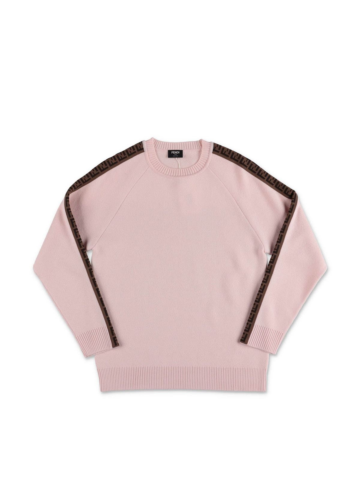 Fendi Jr Clothing PINK PULLOVER WITH FF BANDS