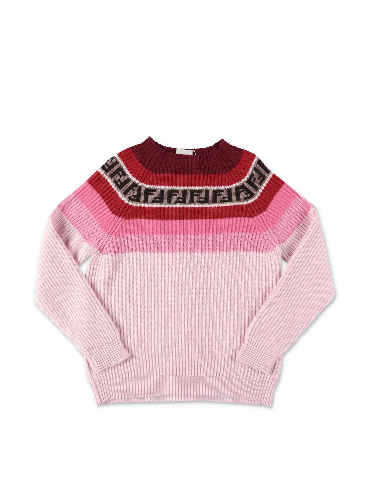 FENDI JR PINK SWEATER WITH STRIPES