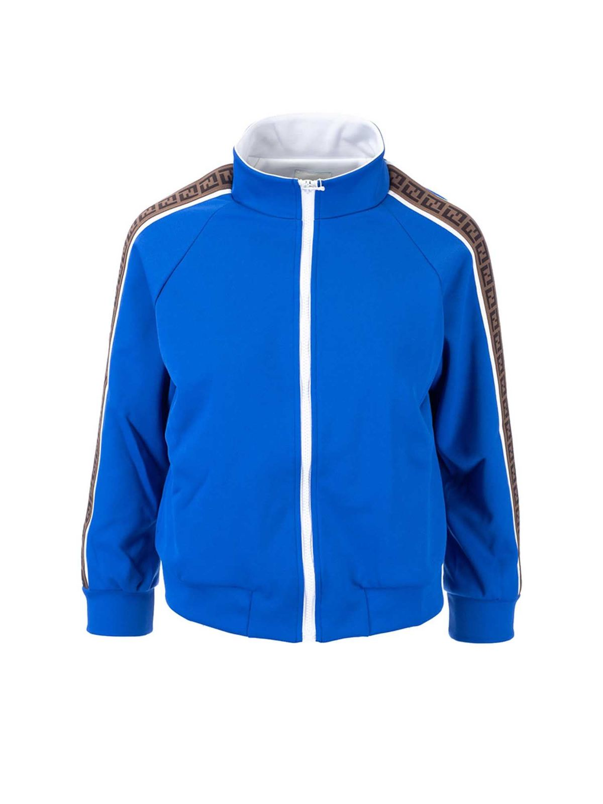 Fendi Jr Cottons FF BANDS SWEATSHIRT IN ELECTRIC BLUE