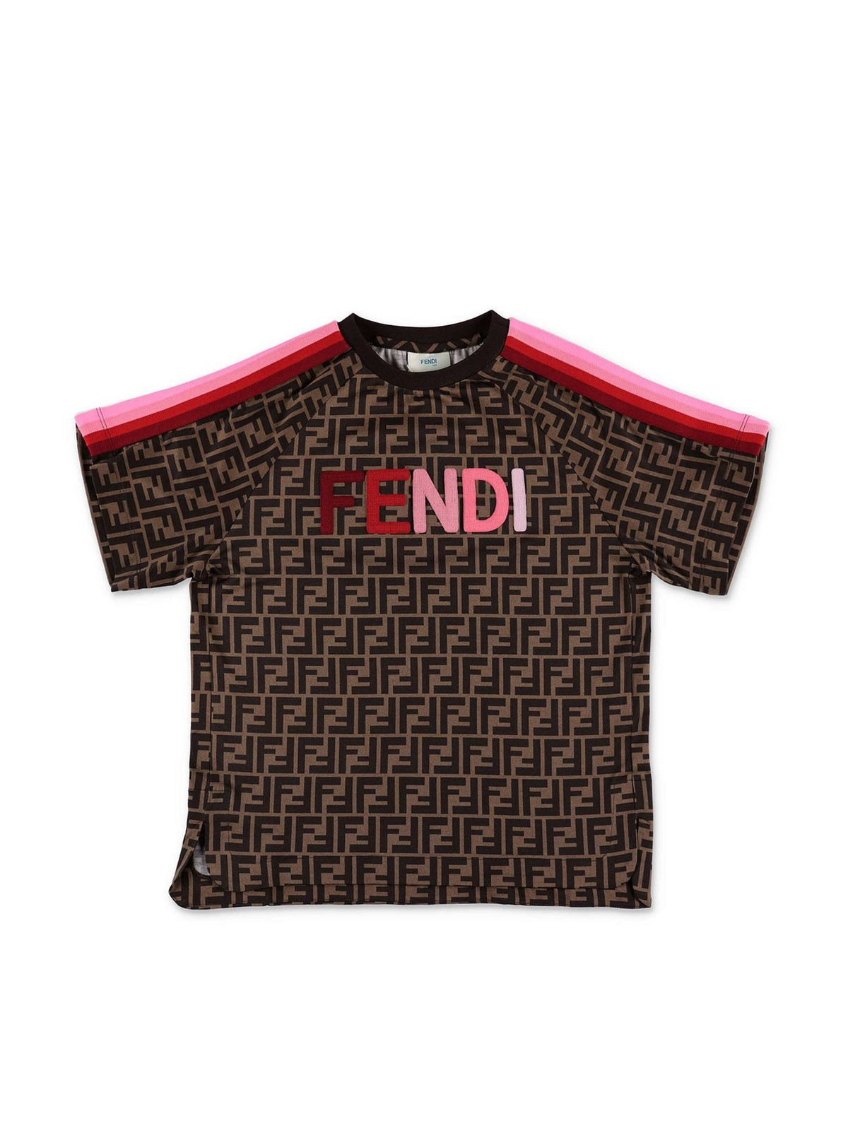 FENDI JR ZUCCA T-SHIRT WITH PINK DETAILS