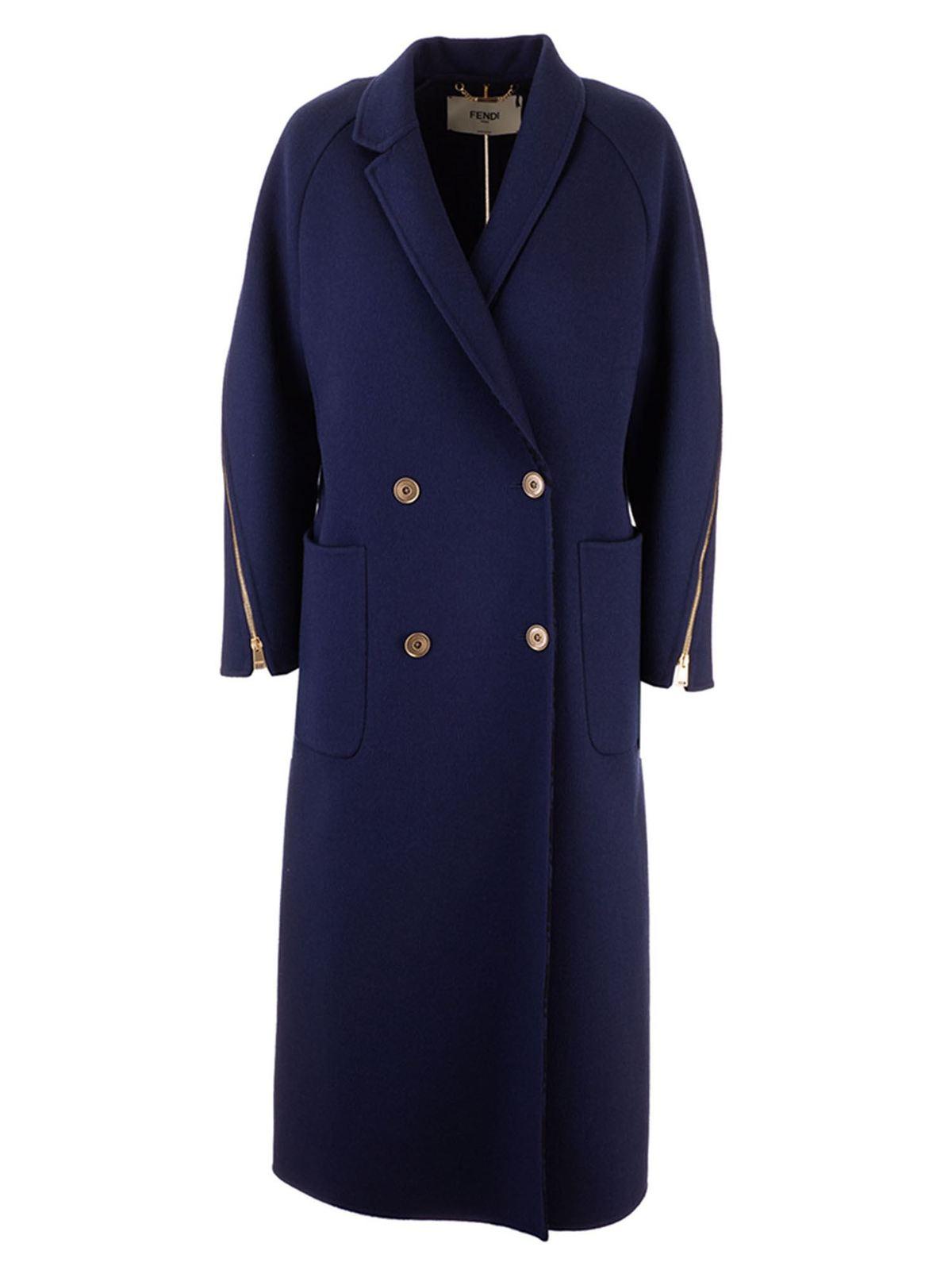 Fendi Silks MAXI ZIP COAT IN BLUE