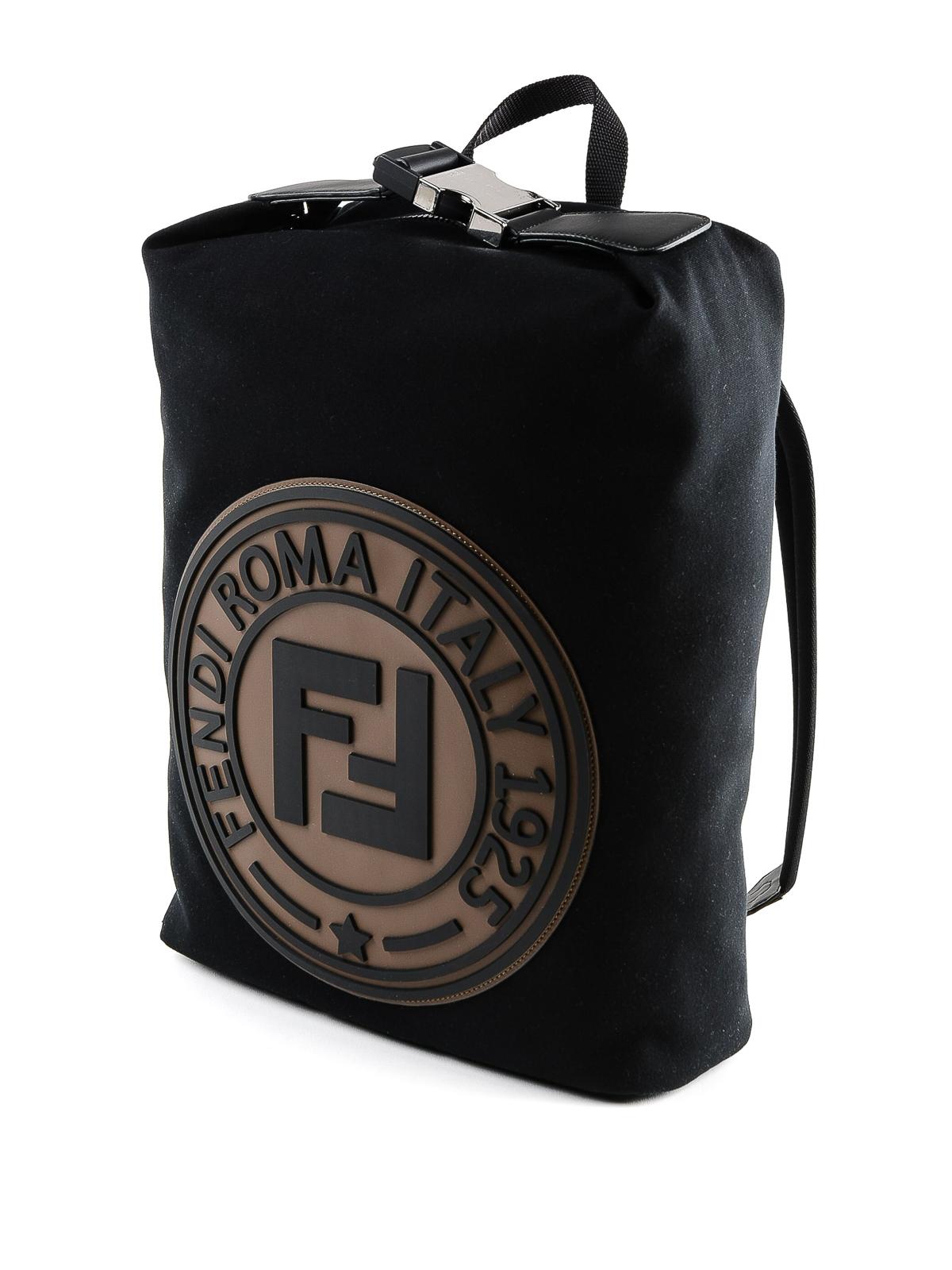 2758b8060442 FENDI  backpacks online - Front rubber logo black canvas backpack