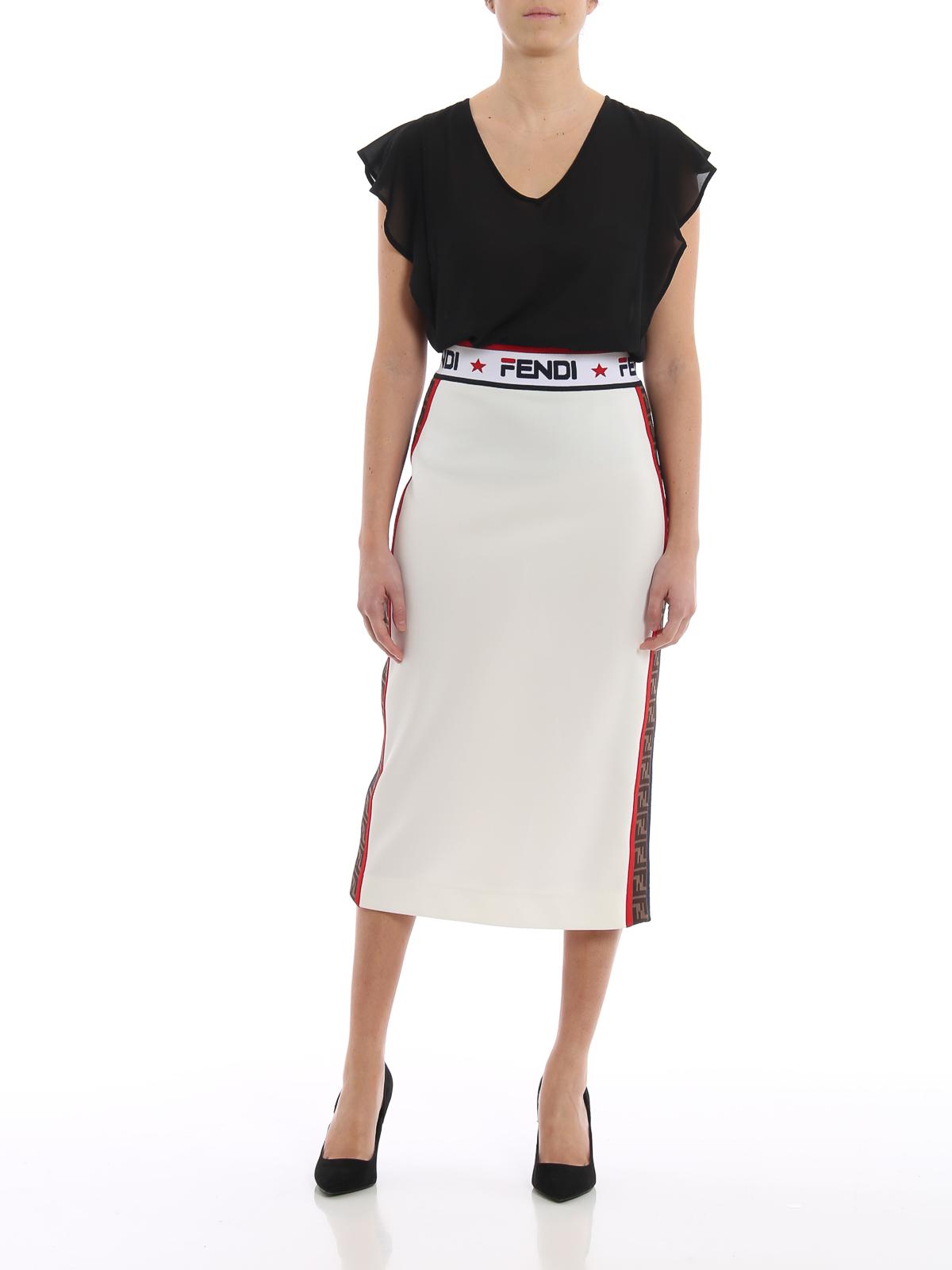 3a6243b18 FENDI: Knee length skirts & Midi online - Fendi Mania tech piqué jersey  pencil skirt