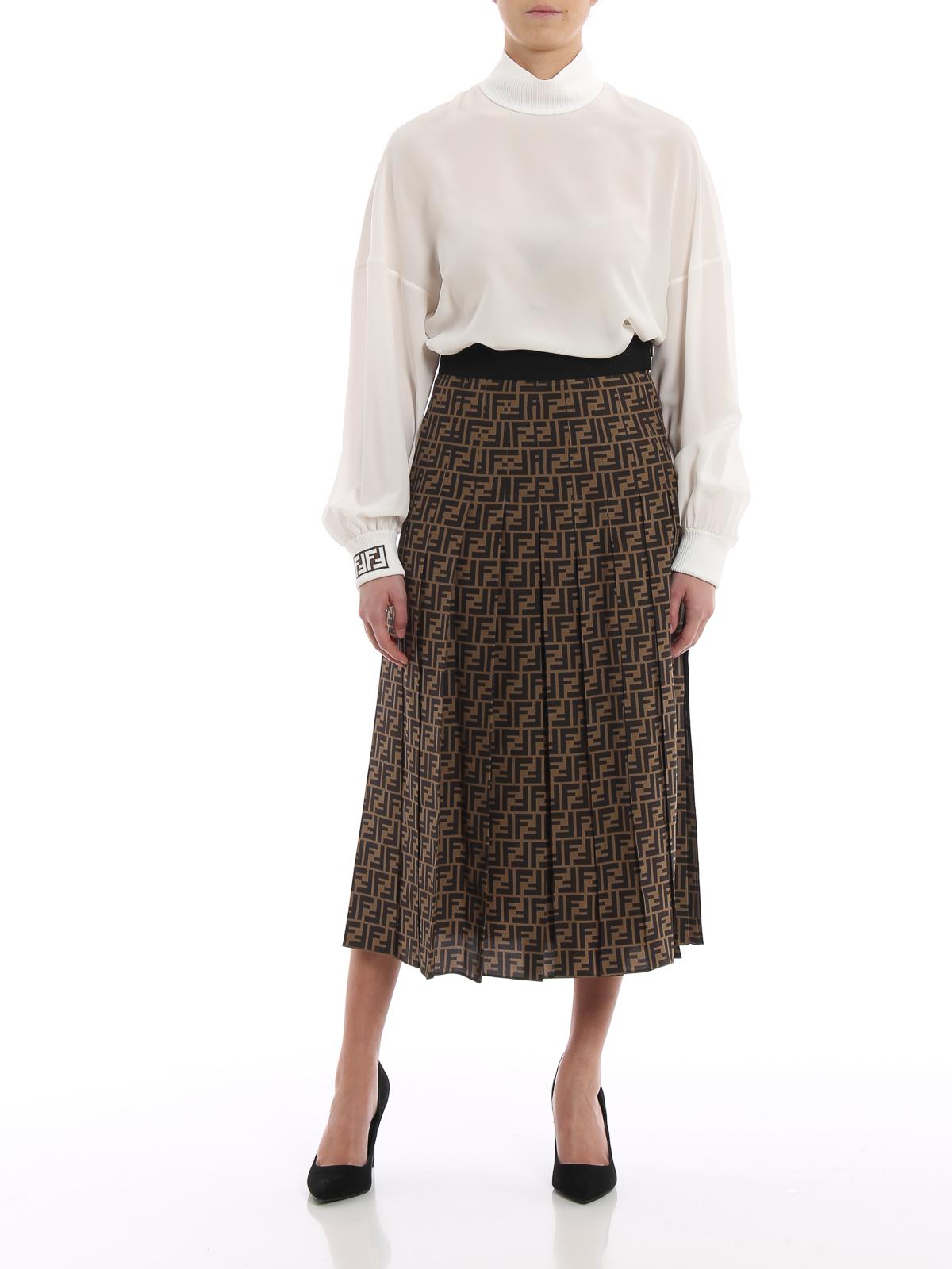 ad377ae66506 FENDI  Knee length skirts   Midi online - FF pattern silk pleated midi skirt